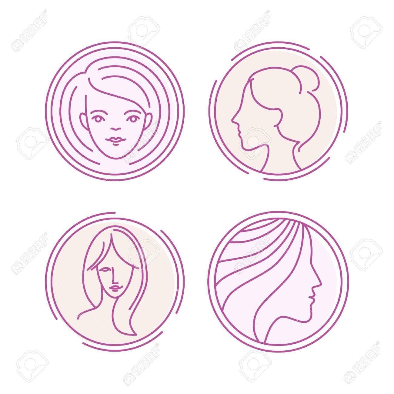 Vector Weibliche Gesichter - Konzept Abbildungen In Linearen Stil ...