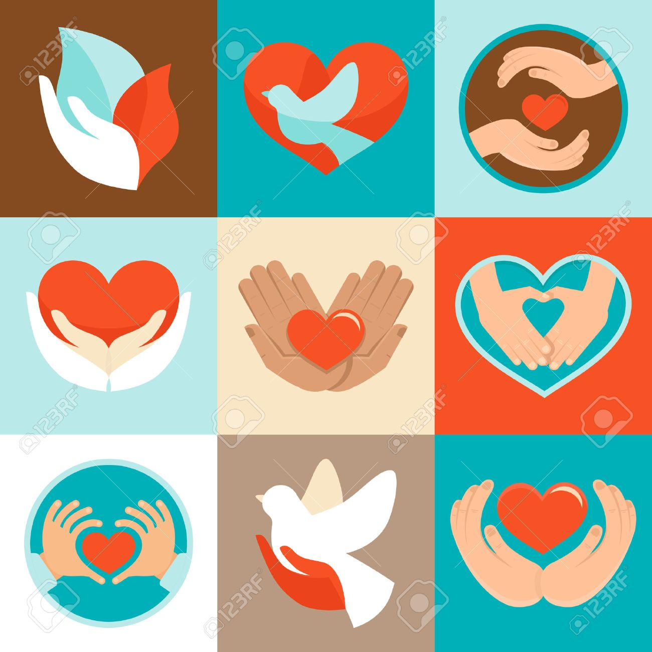 Vector Signs And Symbols In Flat Style Symbols Of Love And Care