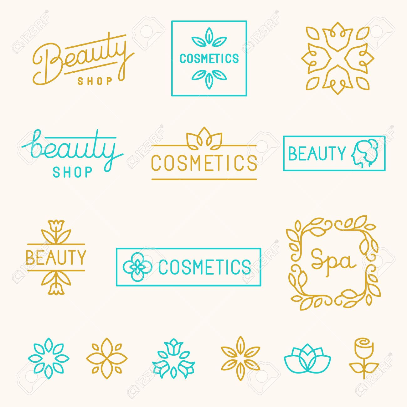 Vector set of linear design elements and logos for beauty shops and cosmetic industry - mono line lettering Stock Vector - 40325082