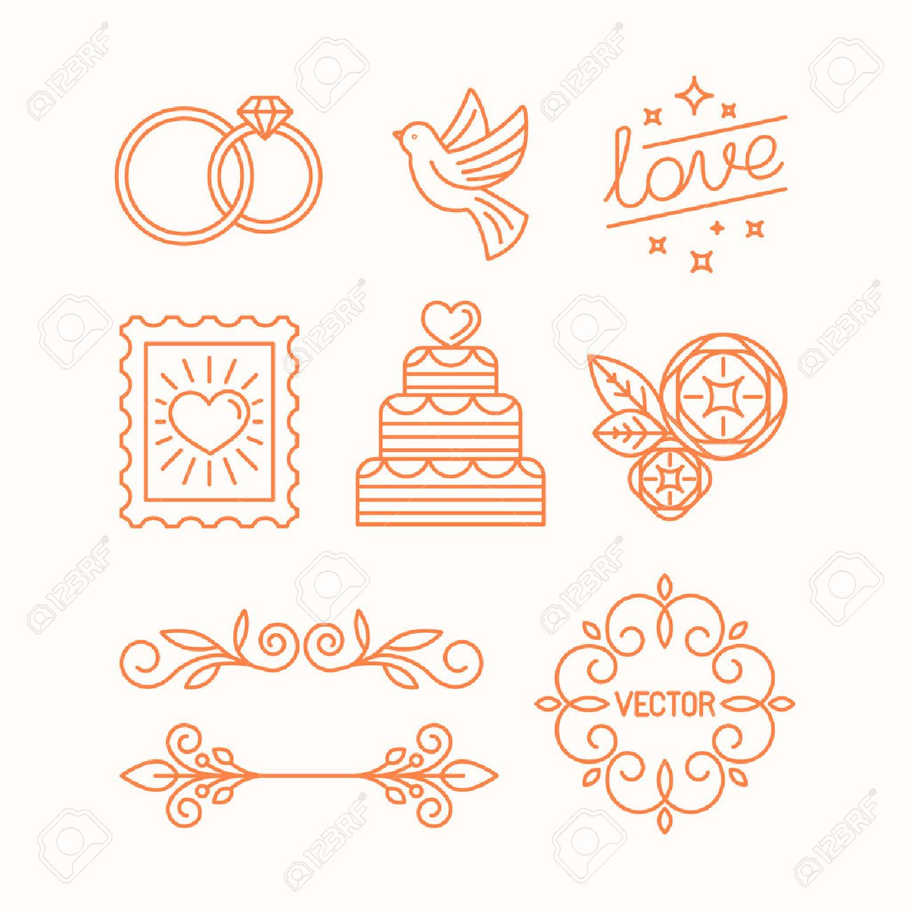 Vector linear design elements icons and frame for wedding vector linear design elements icons and frame for wedding invitations and stationery decoration set junglespirit Images