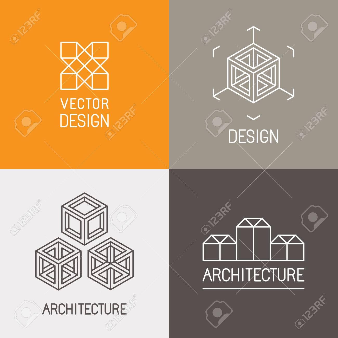 Conjunto De Vectores Plantillas De Diseño En Estilo Lineal Simple ...