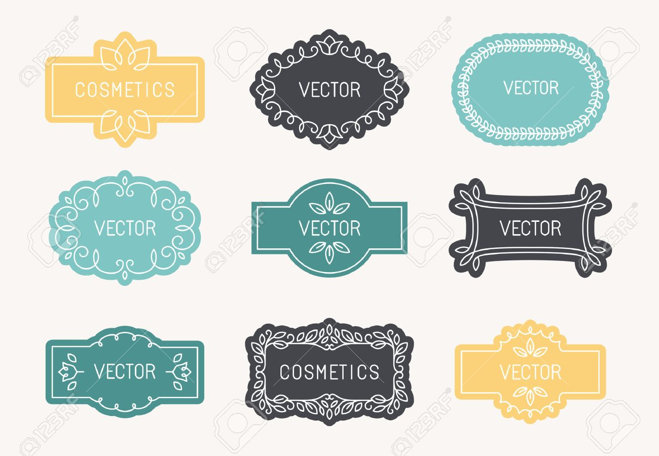 Vector Set Of Linear Design Elements, Packaging Labels And Frames ...