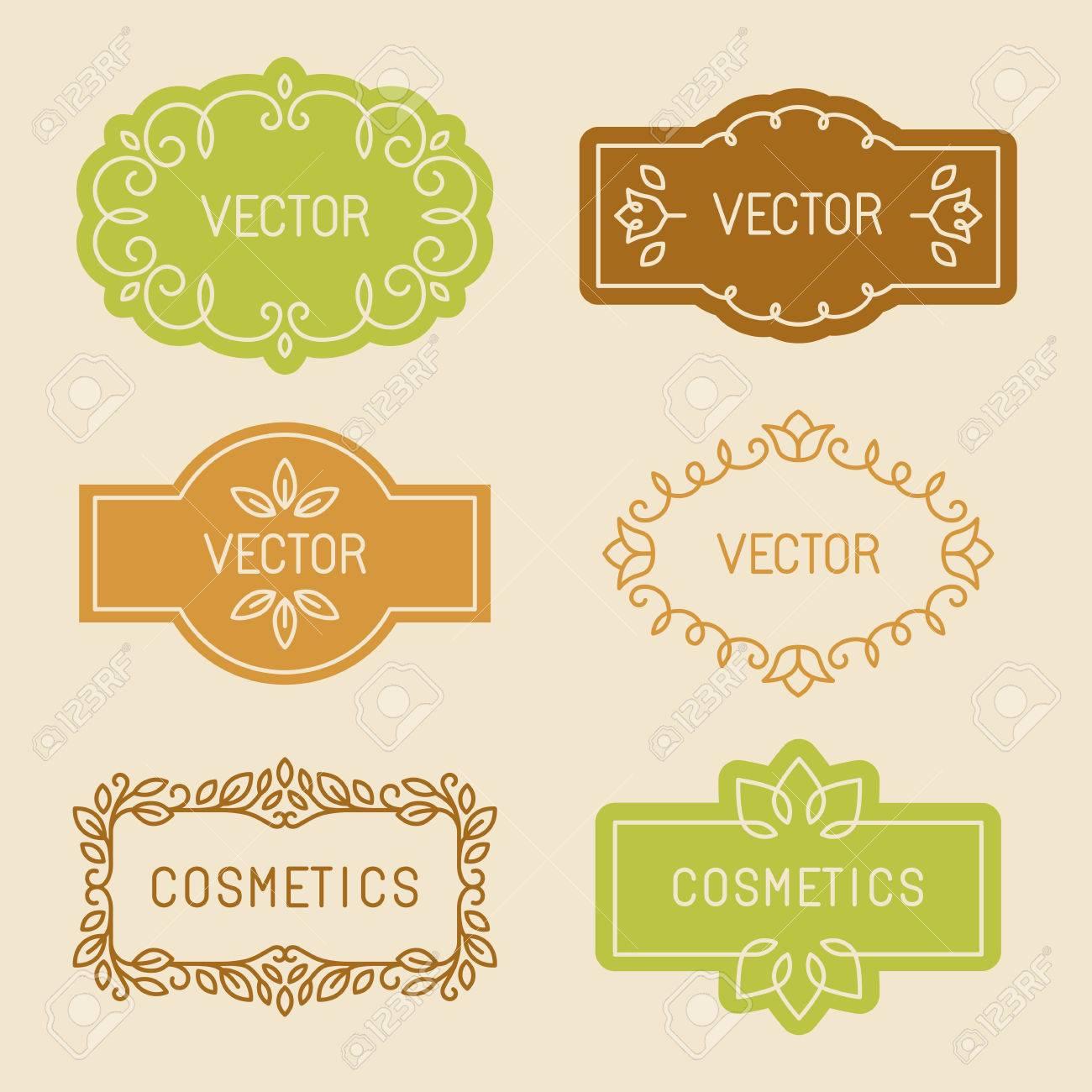Vektor-Satz Von Linearen Design-Elemente, Etiketten Und Den Rahmen ...