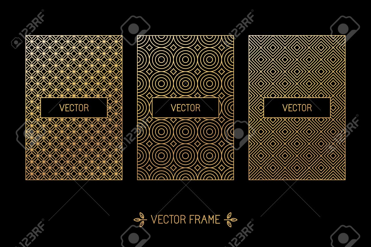 Vector set of design elements, labels and frames for packaging for luxury products in trendy linear style - simple and bright background made with golden foil on black background - 45932314