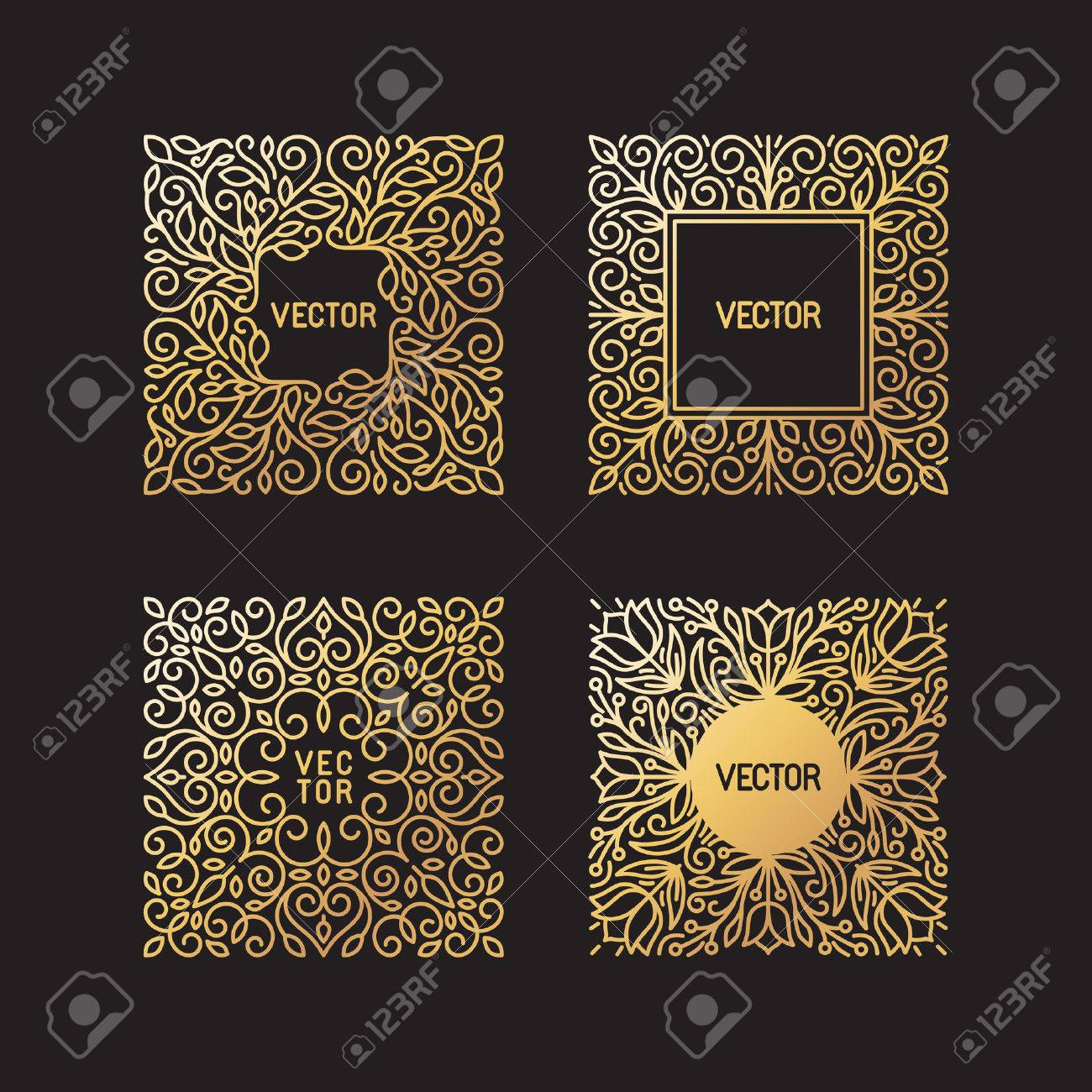 Vector set of linear frames and floral backgrounds with copy space for text - abstract labels for packaging and stationery in vintage hipster style - in golden style on black background - 46725808