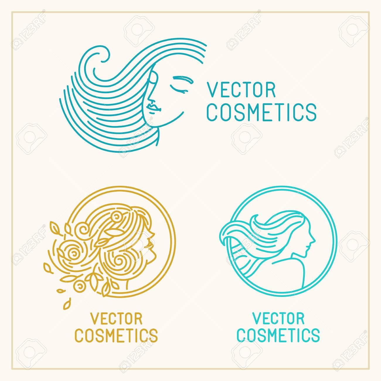 Vector Set Of Logo Design Templates And Abstract Concepts Woman - Logo creator templates