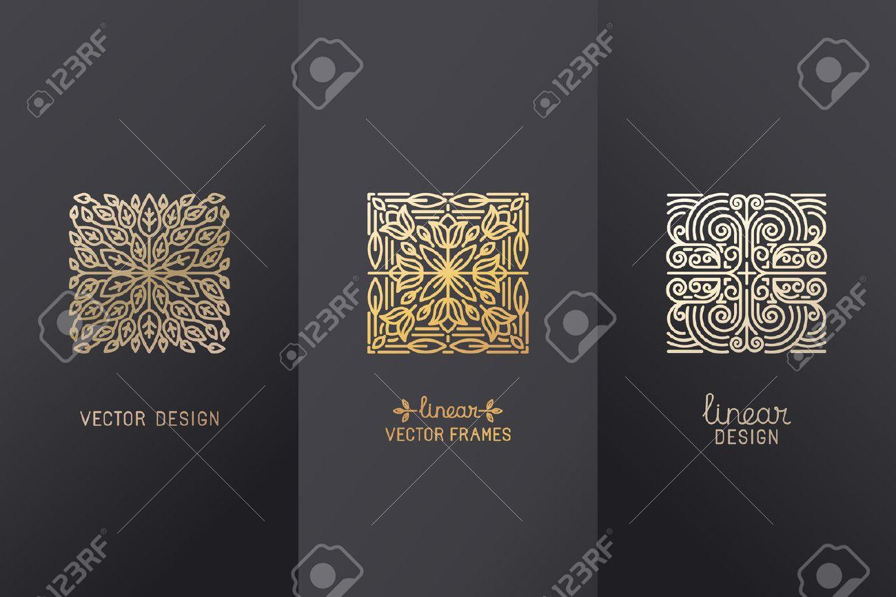Vector Conjunto De Elementos Lineales De Diseño, Plantillas De ...