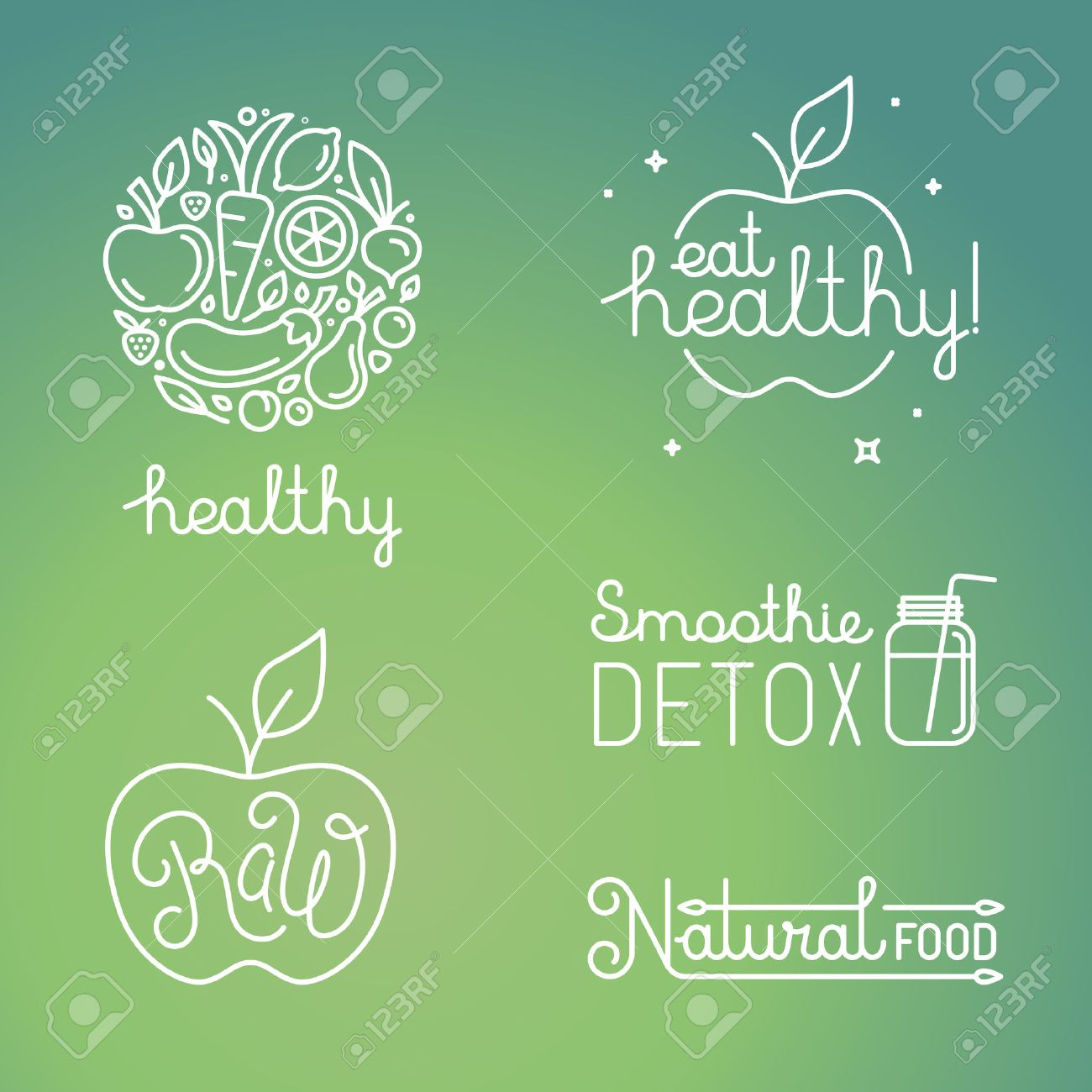 Vector healthy food and organic fruits concepts and logo design templates in trendy linear style - icons, signs and emblems related to vegan and raw organic food Stock Vector - 47663763