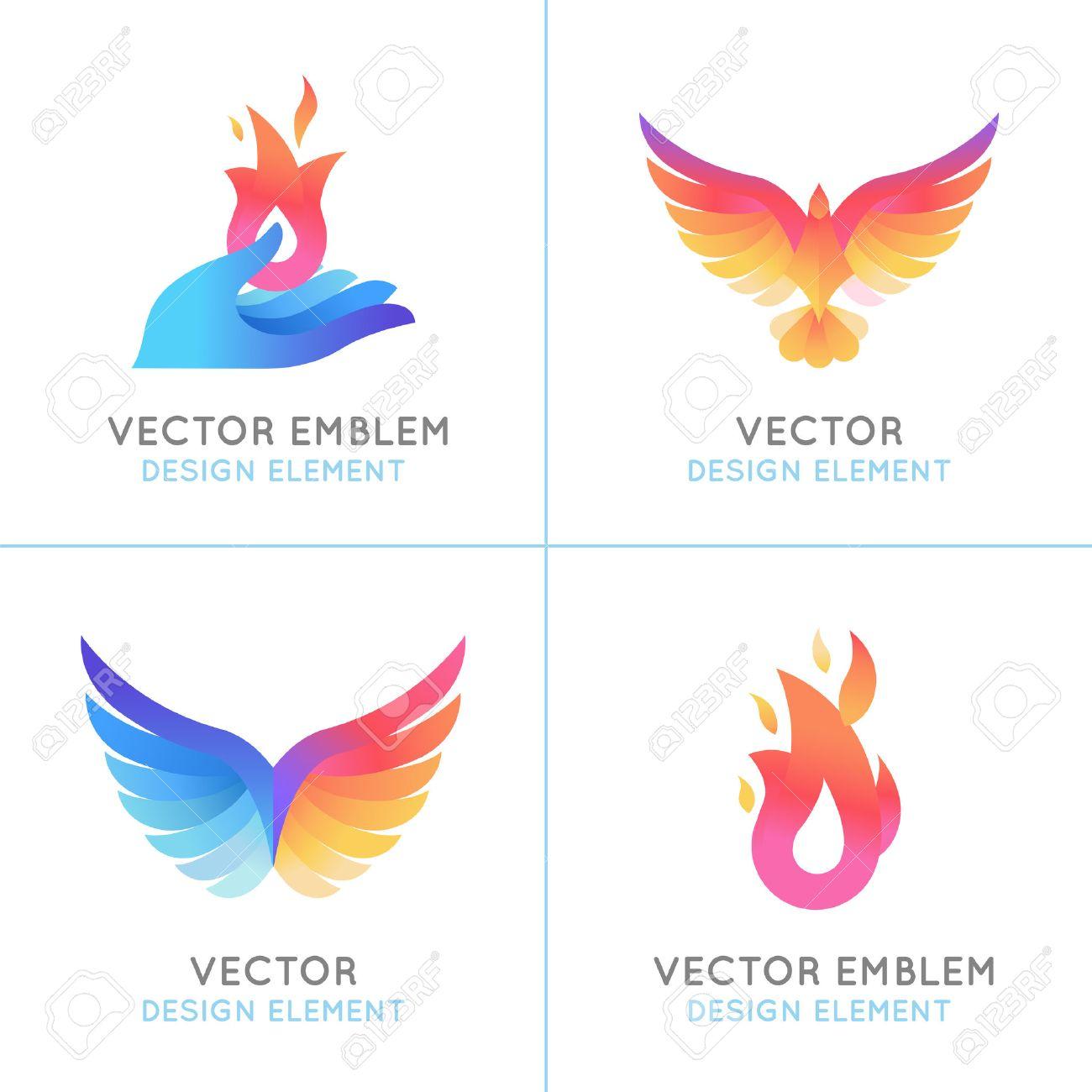 Vector ensemble de concepts abstraits, des concepts de conception de logo et les emblèmes en dégradé de couleurs vives oiseaux de Phoenix et icônes