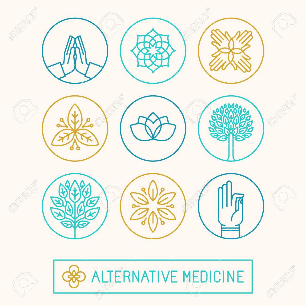 Vector set of icon design templates and icons in trendy linear style - holistic and alternative medicine - 48487861