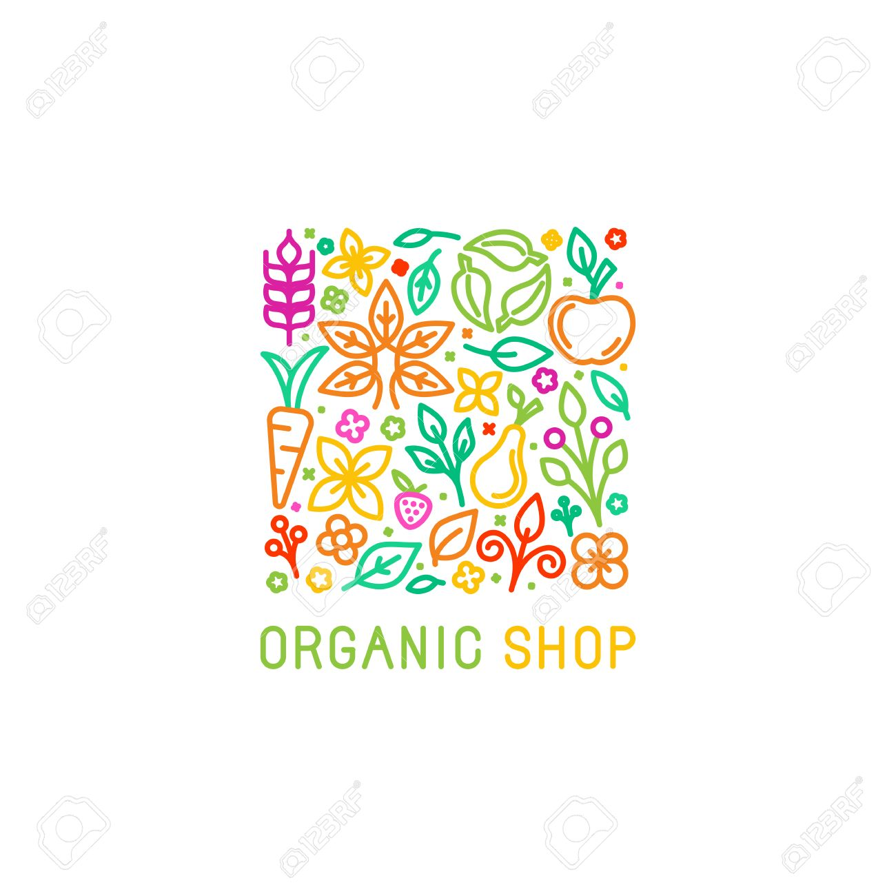 Vector Logo Design Template With Fruit And Vegetable Icons In ...