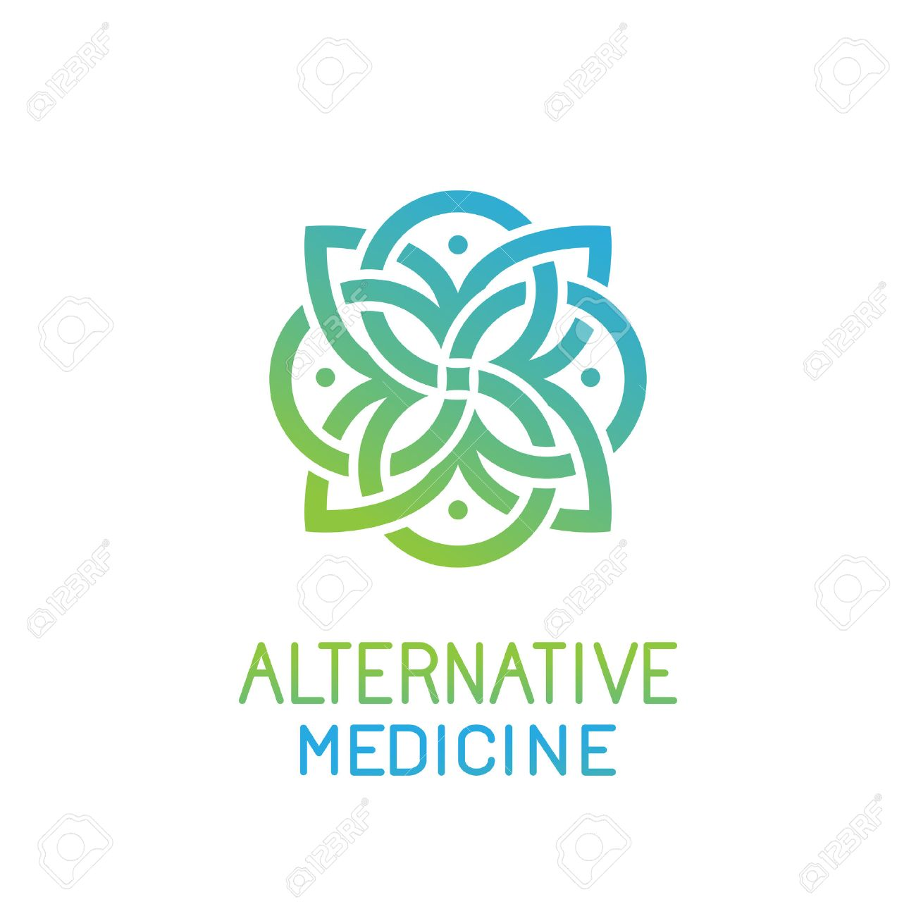 abstract design template for alternative medicine, health center and yoga studios - emblem made with leaves and lines - 51066170