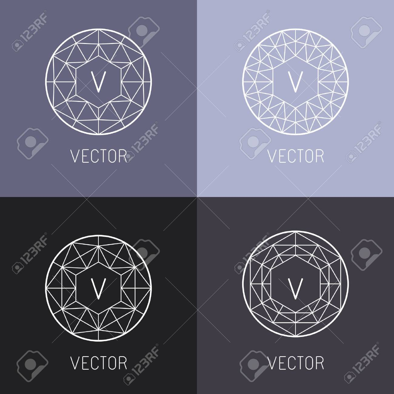 set of abstract jewelry design templates and monogram templates
