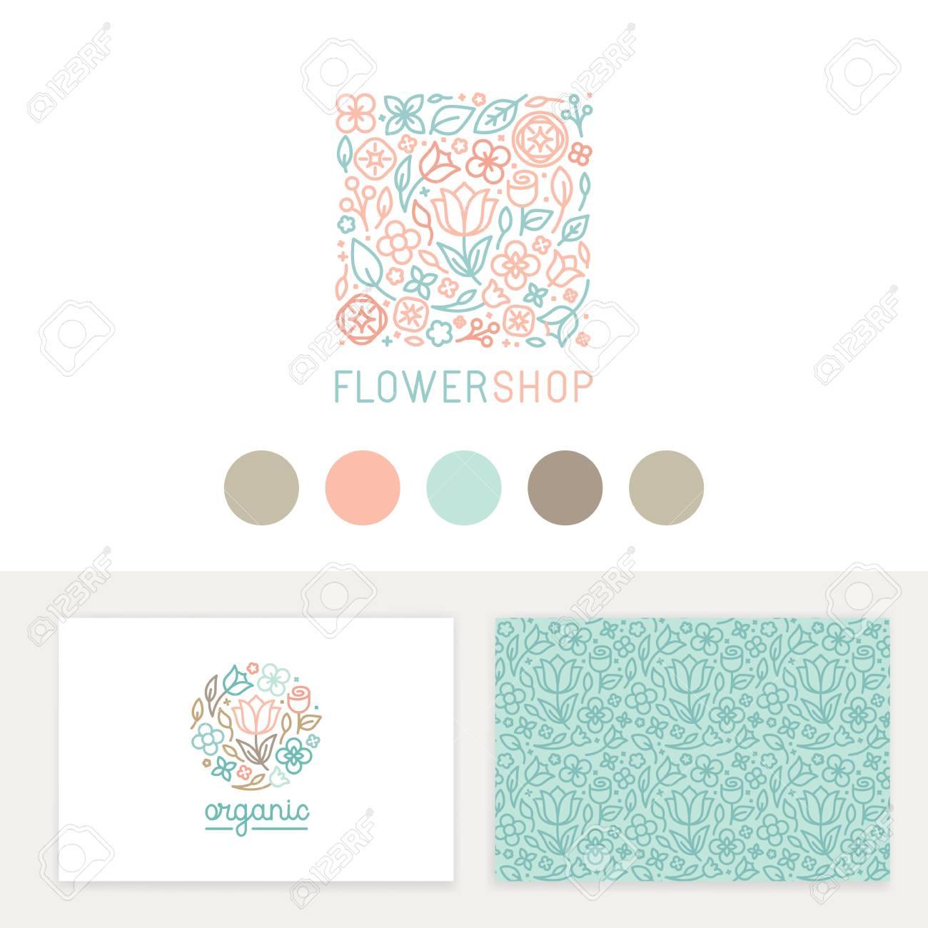 Conjunto de vectores plantillas de diseño, patrones de costura y signos de  identidad, tarjetas de presentación y envasado - Tiendas de flores, ...