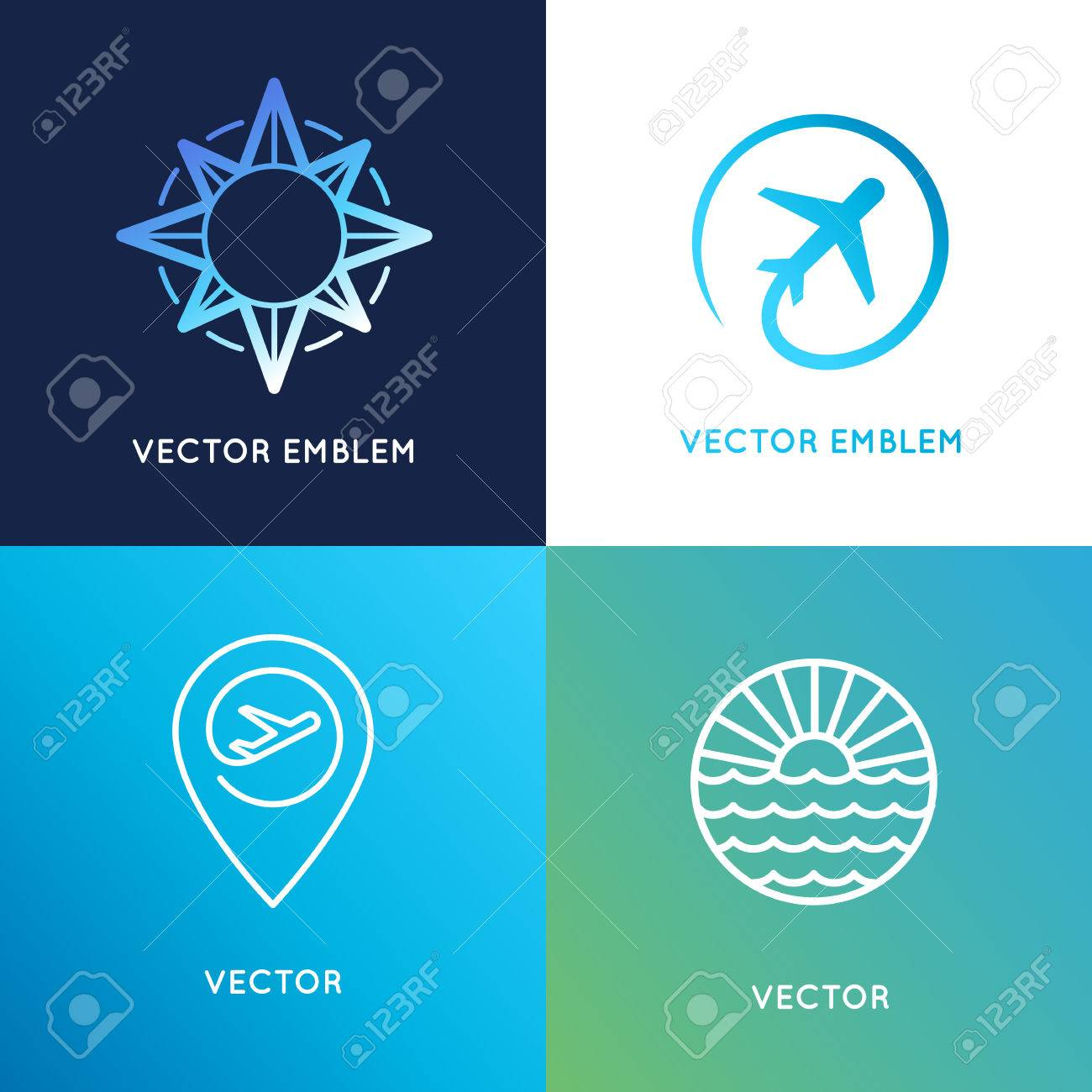 Vector Logo Design Templates In Trendy Linear Style With Icons