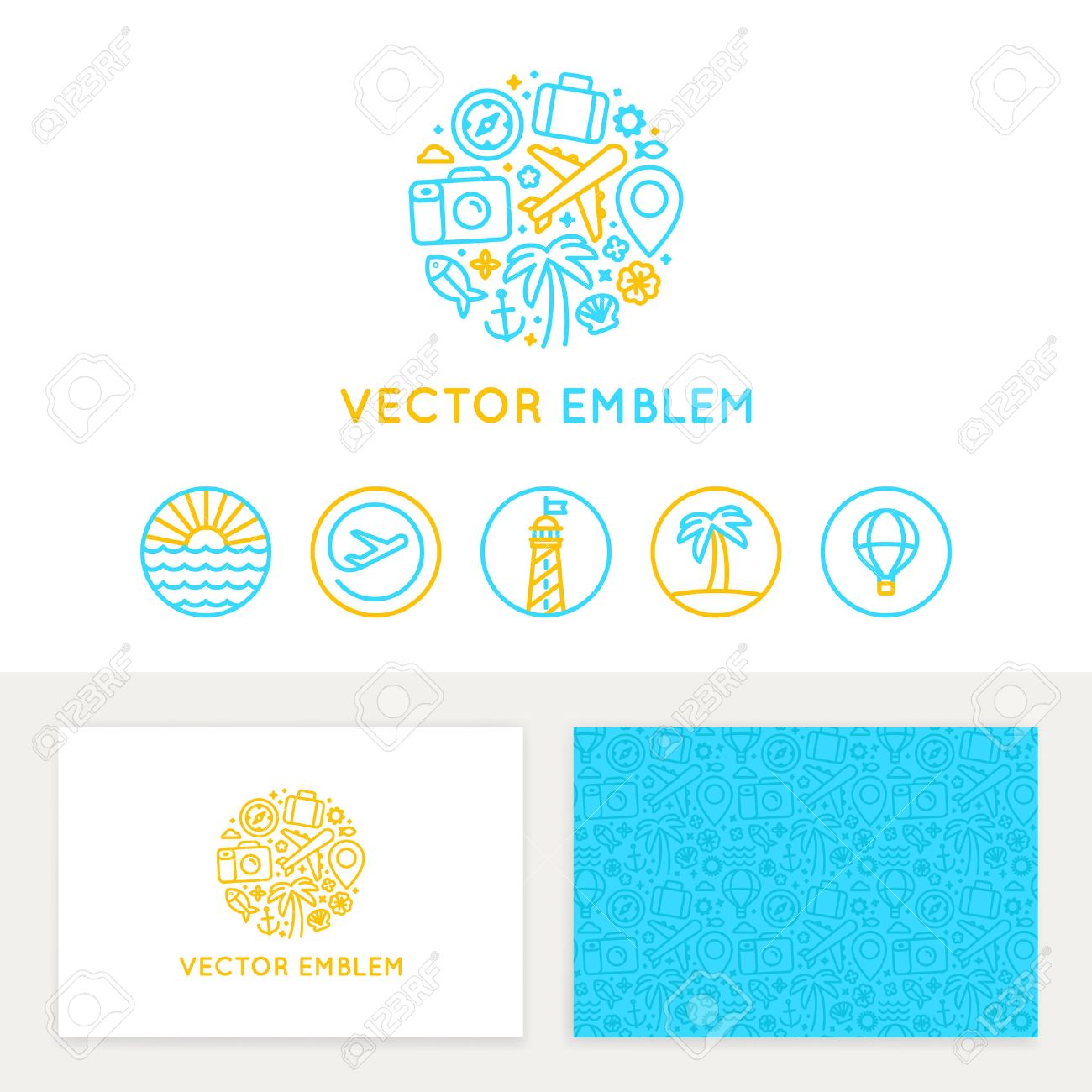 Vector Logo Template, Business Card Design And Linear Emblems ...