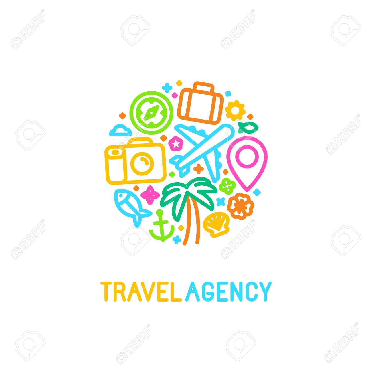 Vector logo design template in trendy linear style with icons - travel agency emblem and tour guide concepts - 52360262