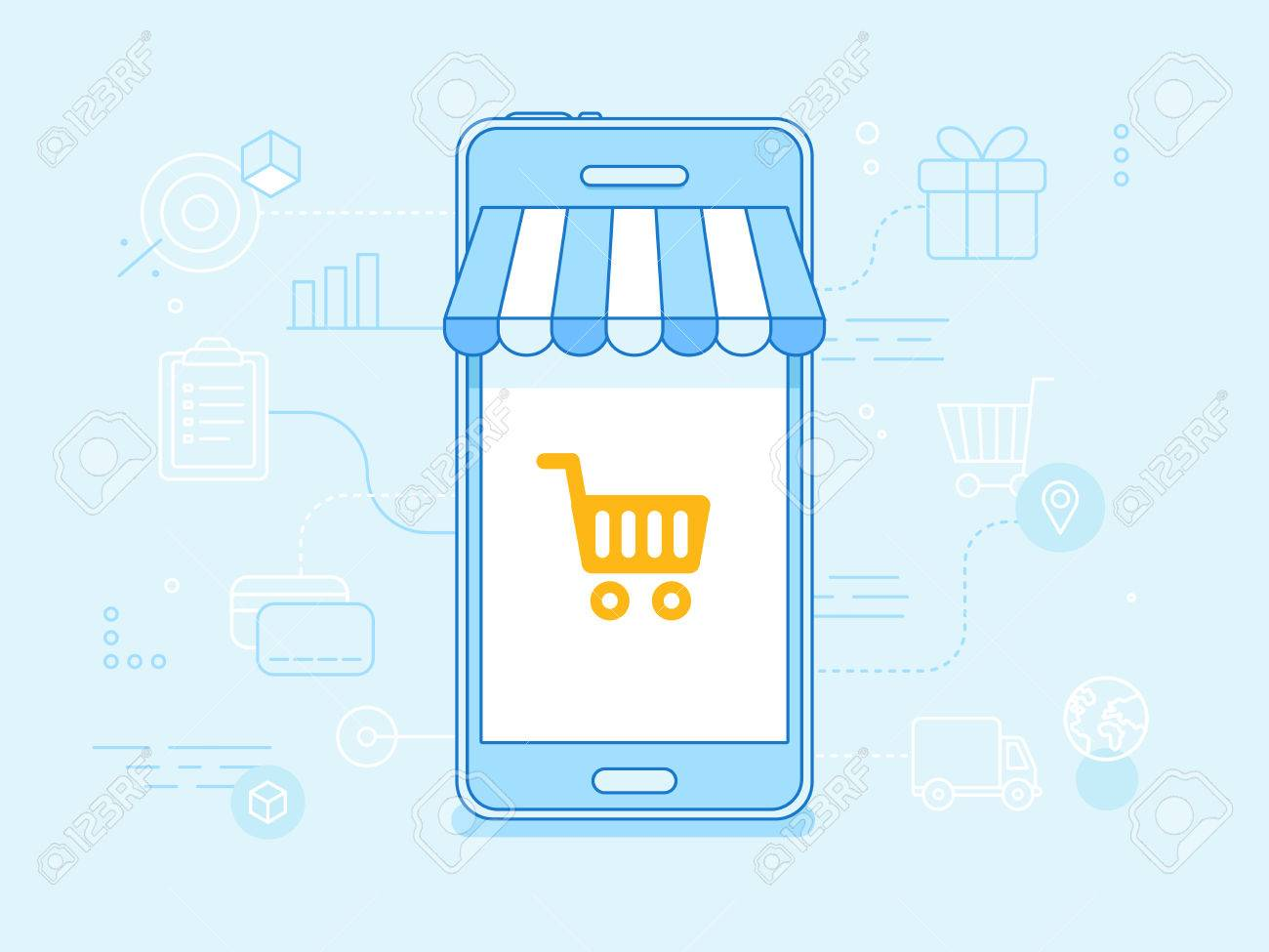 f624a513873 Vector - Vector flat linear illustration in blue colors - online shopping  concept - mobile phone with striped awnings and shopping cart on the  touchscreen