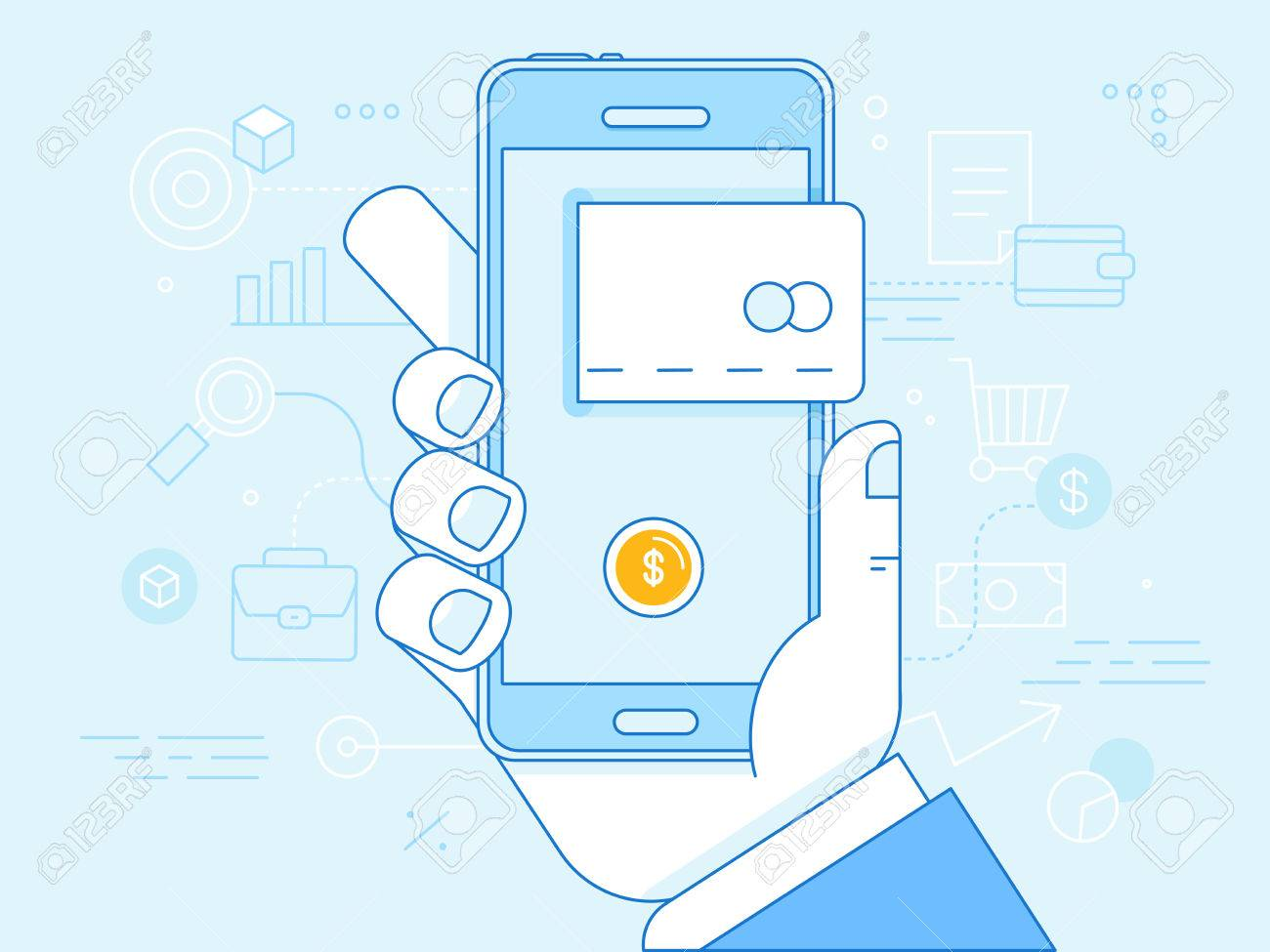 Vector flat linear illustration in blue colors - online mobile payment concept - hand holding mobile phone with credit card icon on the touchscreen - 53041756