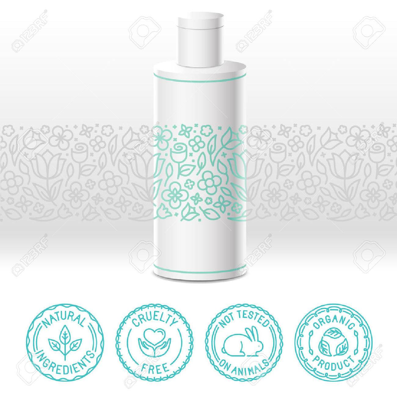 Vector design kit - set of design elements, icons and badges for natural and organic cosmetics in trendy linear style - packaging template with label with floral pattern - 55704214
