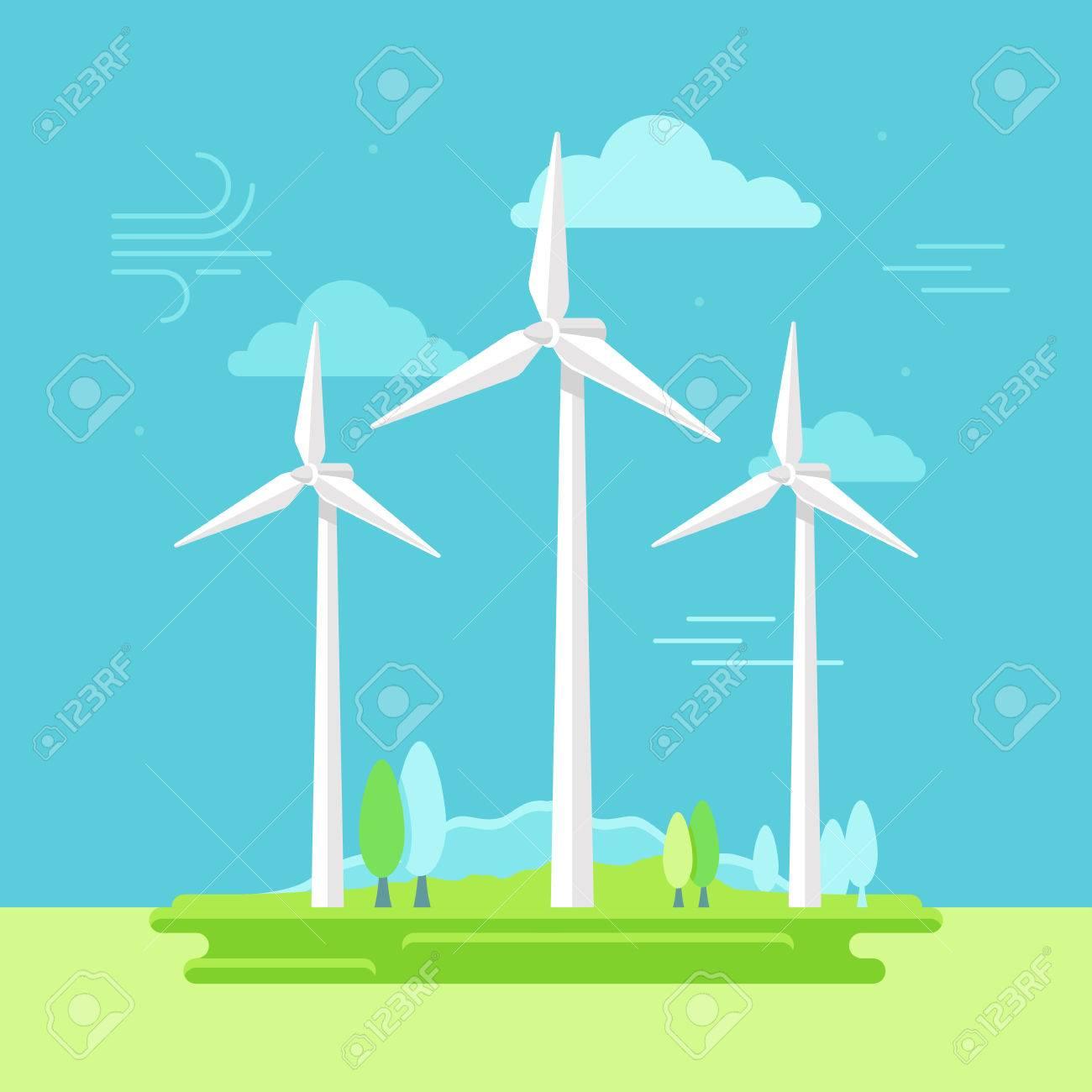 自然の風景とシンプルなフラット スタイル 代替再生可能エネルギー