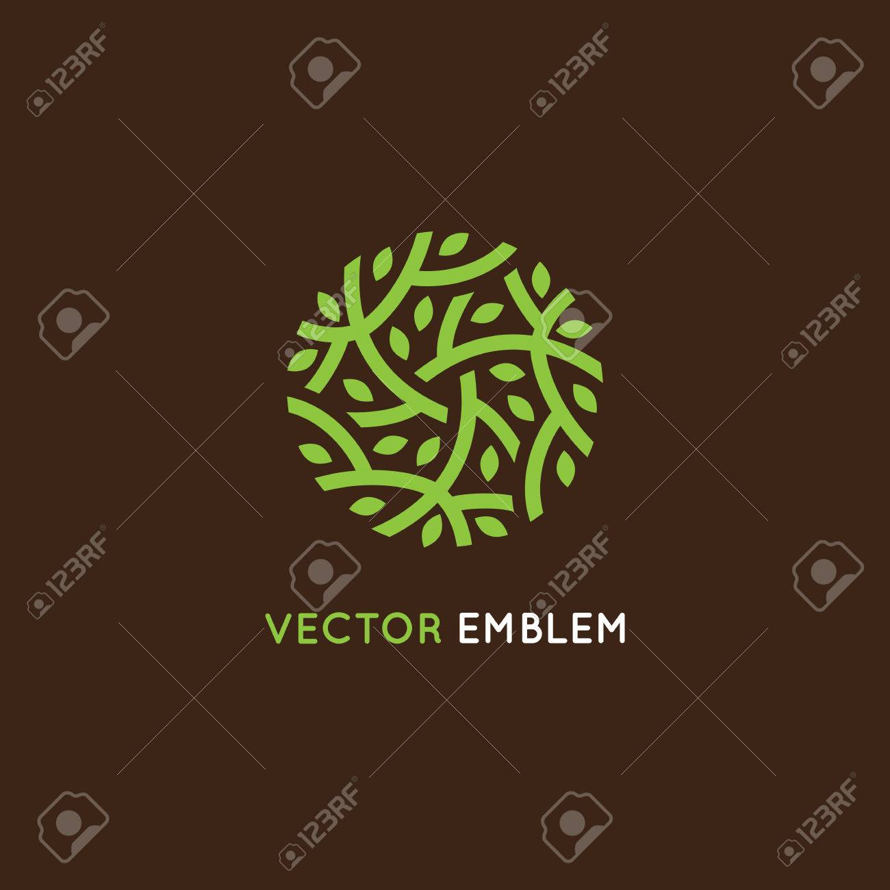 design template in green color - abstract sign end emblem for holistic medicine centers, organic food stores, natural cosmetics products - circle made with leaves and branches - 58771337