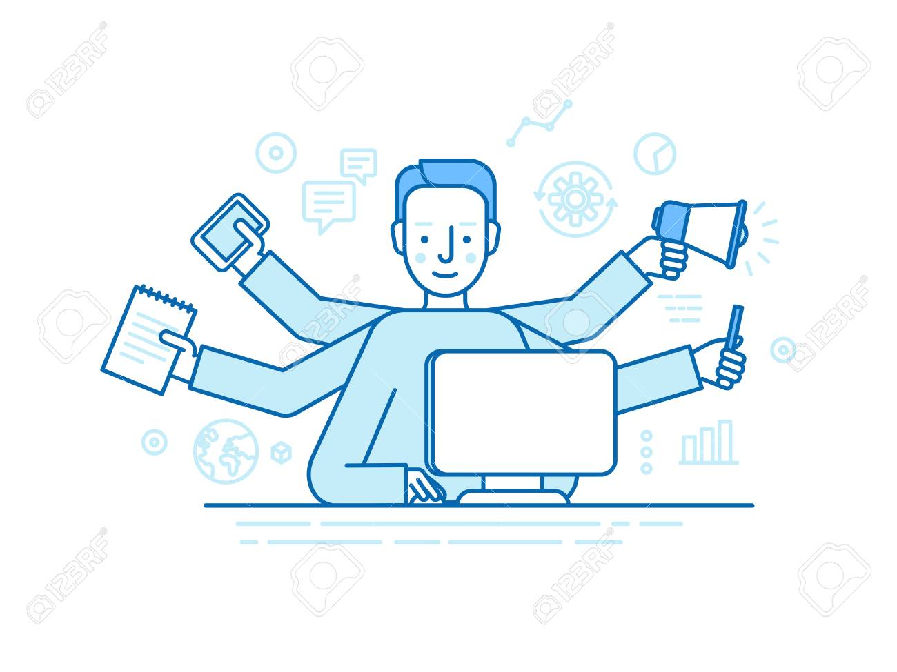 home office multitasking. Home Office Multitasking. Vector Self Employment Concept In Trendy Flat Linear Style - Multitasking Freelancer