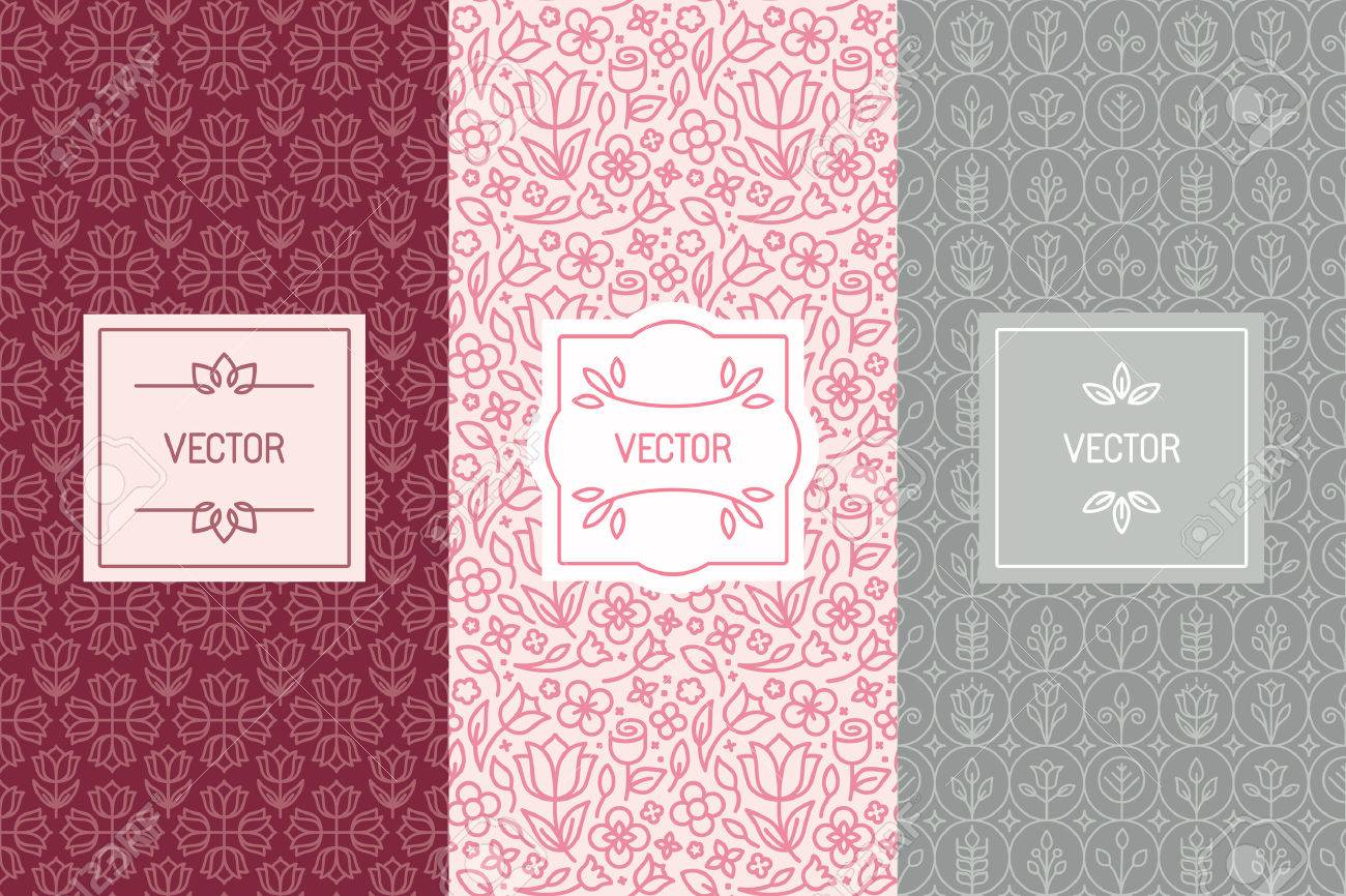 Vector set of design elements seamless patterns and label templates vector vector set of design elements seamless patterns and label templates for cosmetic and beauty product packaging or business card backgrounds with colourmoves