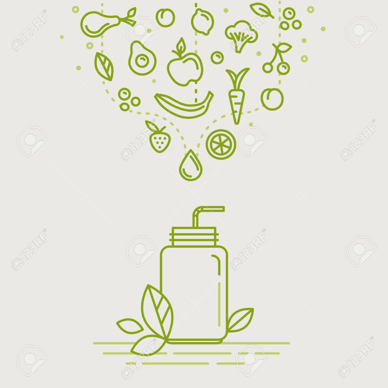 Vector illustrations in trendy linear style - healthy smoothie infographics design elements - jar with fruits and vegetables - 61489342