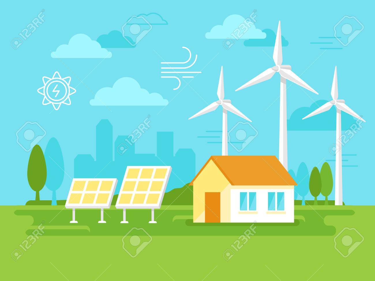 illustration in simple flat style - alternative and renewable energy - wind-powered electrical generators, solar panels and farm house with natural landscape - 61700625