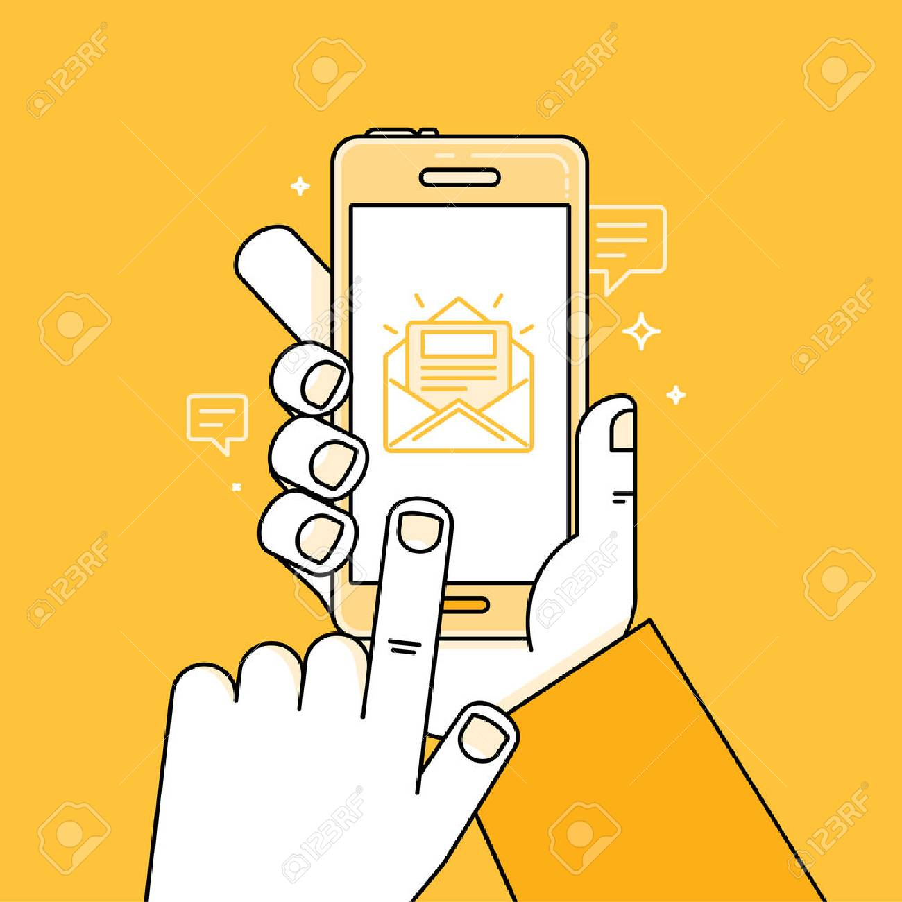 Vector illustration in simple linear flat style and bright yellow color - hand with mobile phone and finger touching screen - app with message - notification about new letter or task - 61889955