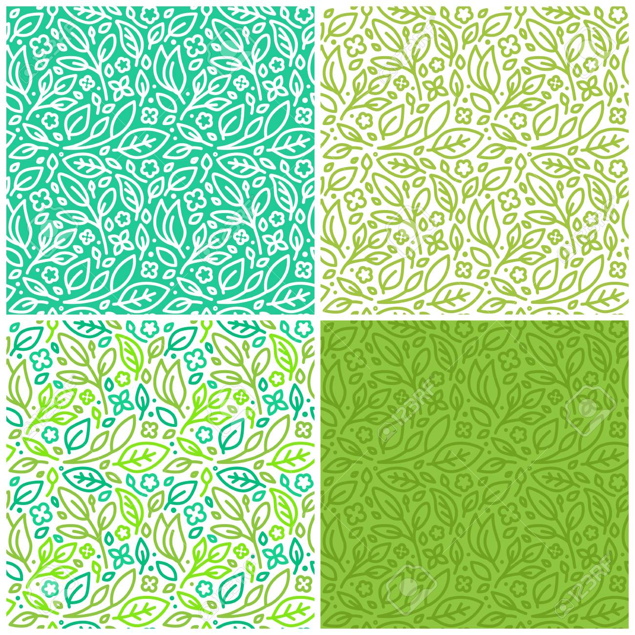 Vector set of seamless patterns and abstract backgrounds with green leaves and flowers - for organic and healthy food packaging, natural cosmetics and vegan products - 61903681