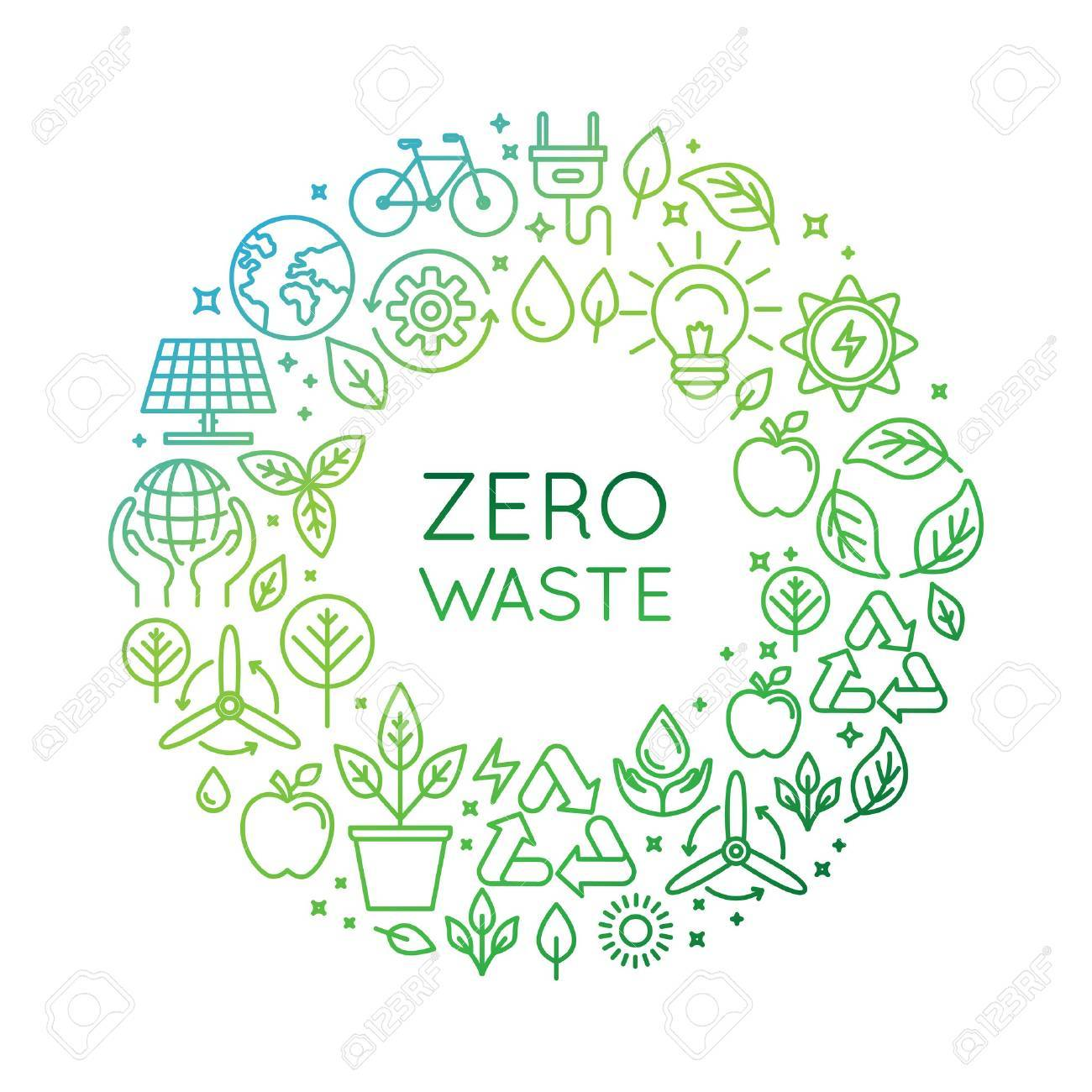 Vector design template and badge in trendy linear style - zero waste concept, recycle and reuse, reduce - ecological lifestyle and sustainable developments icons - 63430784