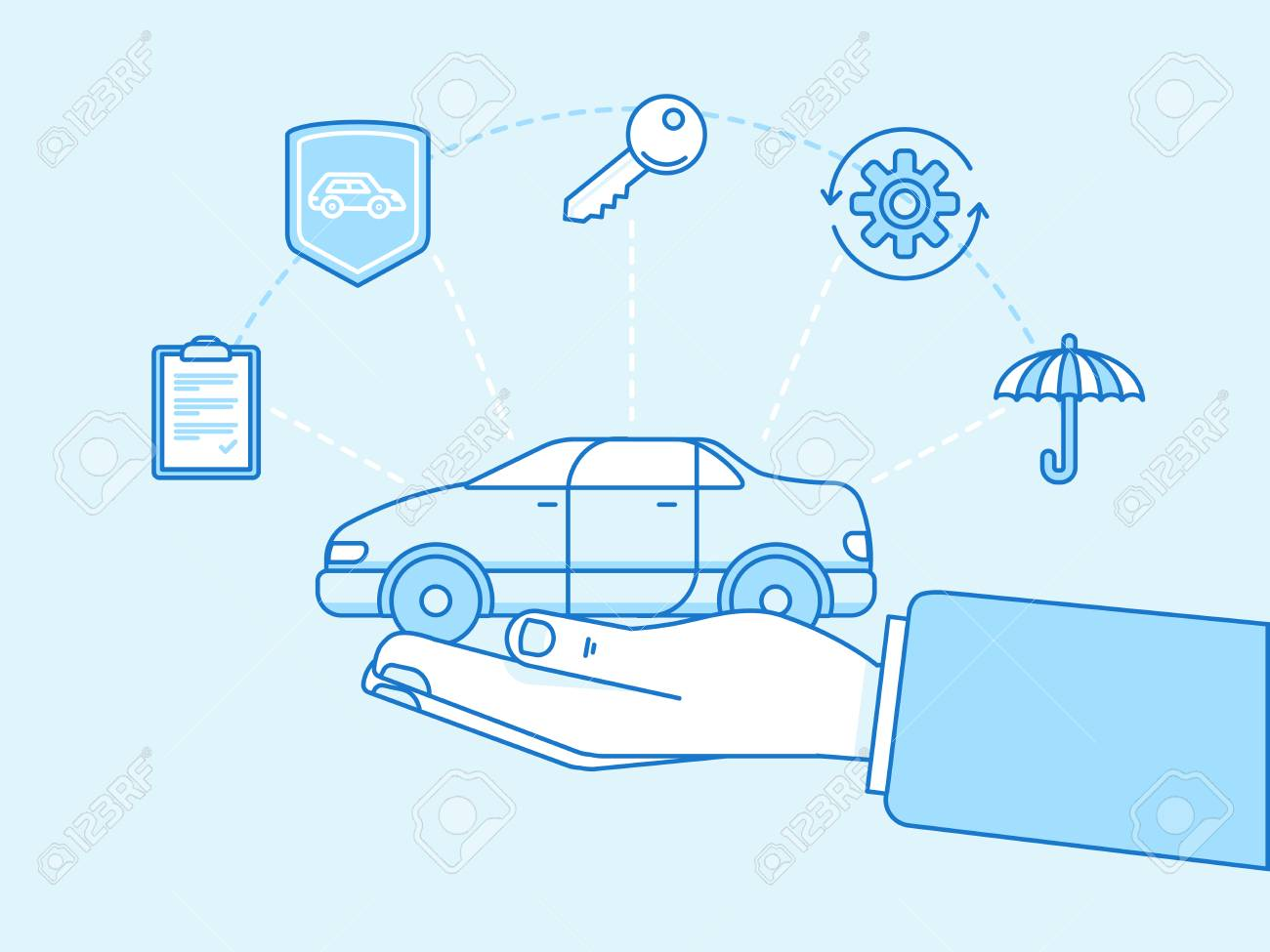 Vector illustration and infographics design elements in modern flat linear style - car insurance concept - hands protecting and supporting vehicle - 63783692
