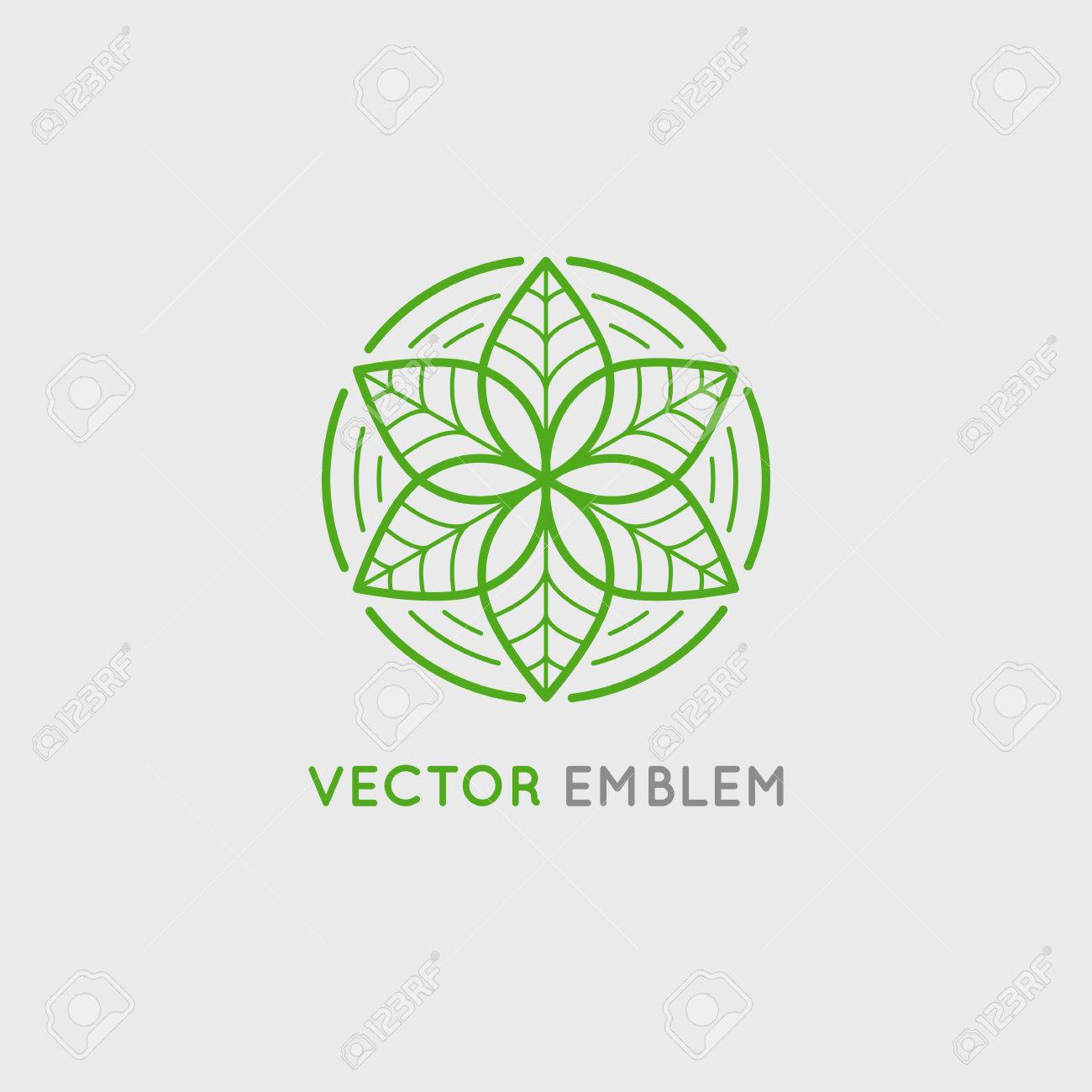 Vector design template and emblem made with leaves and flowers - luxury beauty spa concept - badge for yoga studios, holistic medicine centers, natural and organic food products and packaging - 64877748