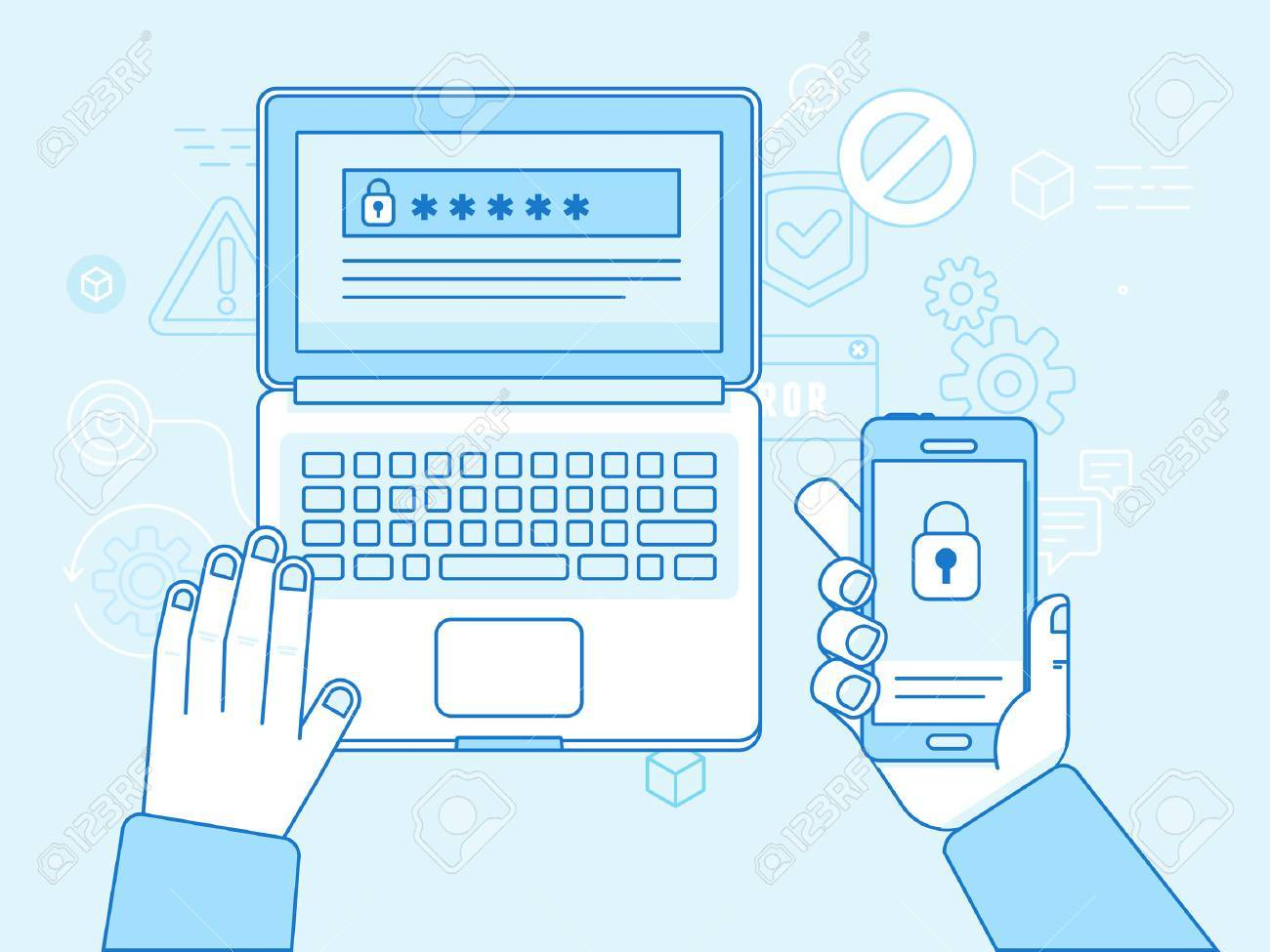 Vector flat linear illustration in blue colors and trendy flat linear style - multi factor authentication and online access control concept - laptop and mobile phone with password and authorization code to secure user data - 64735148
