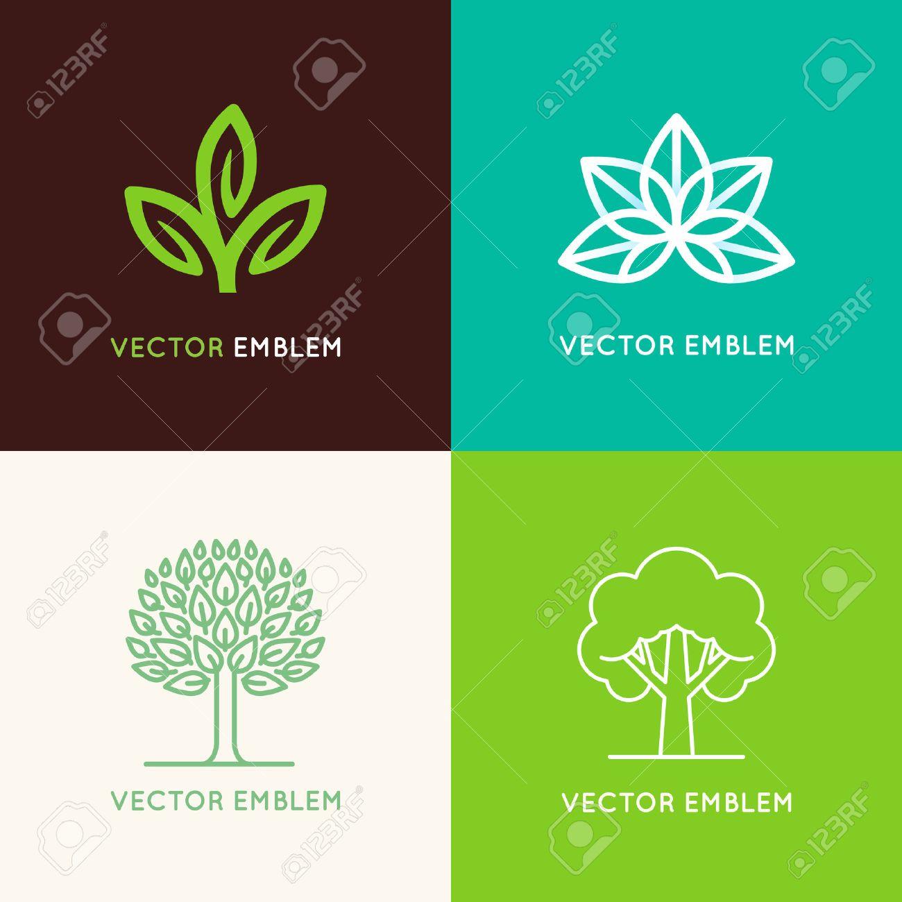 7968d6ff856 Vector Set Of Logo Modèles De Conception Et Emblèmes Fabriqués Avec Des  Feuilles Et Des Fleurs - Insigne Pour Les Studios De Yoga