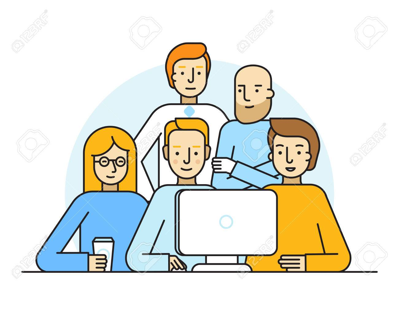 Vector illustration in trendy flat linear style - creative team working on a website for start up business - men and woman at the computer - developing and management of the project - human resources and career opportunities concept for banner or landing - 68935624