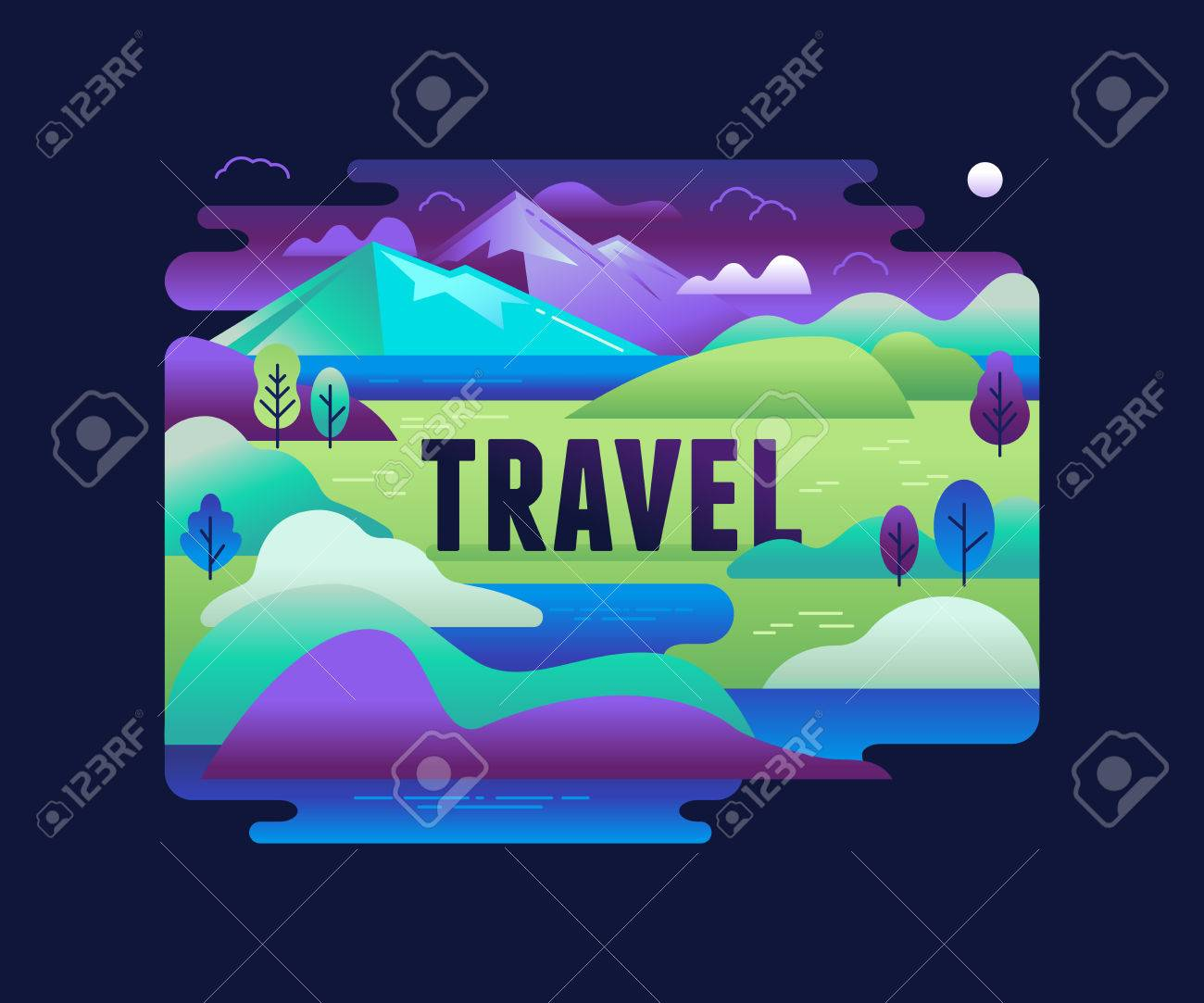 Vector illustration in trendy flat and linear style - background with green landscape and mountains - concept and design element for banners, infographics, greeting card - travel concept Banque d'images - 70965341