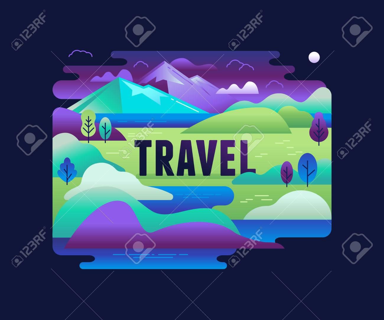 Vektor-Illustration im trendigen flachen und linearen Stil - Hintergrund mit grünen Landschaft und die Berge - Konzept und Design-Element für Banner, Infografiken, Grußkarte - Reise-Konzept Standard-Bild - 70965341