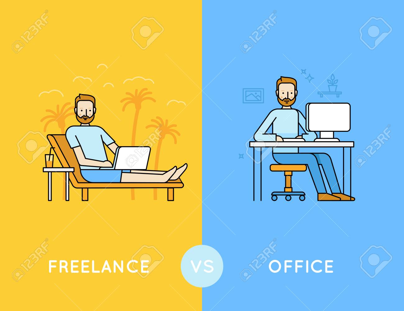 Vector illustration in trendy flat and linear style - freelance vs office - infographics design template - comparison of different style of work - outsourced employee and office worker - 71306059