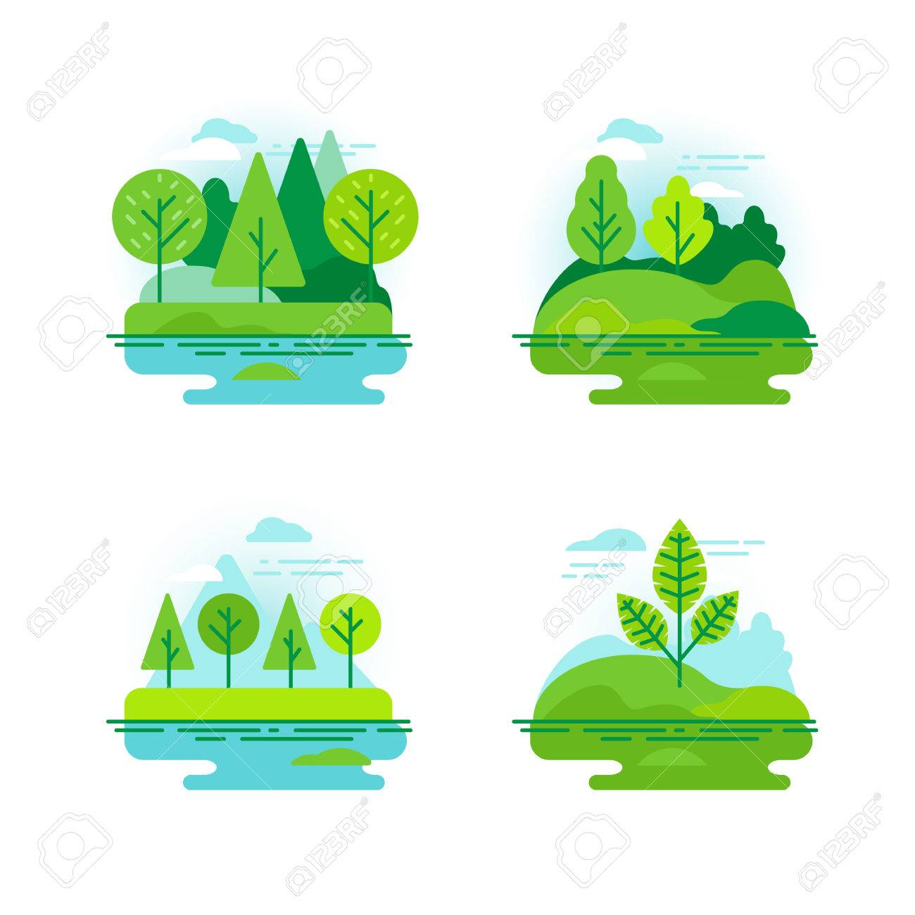 Vector set of icons and illustration in flat linear style - nature landscapes with green trees - 72098633