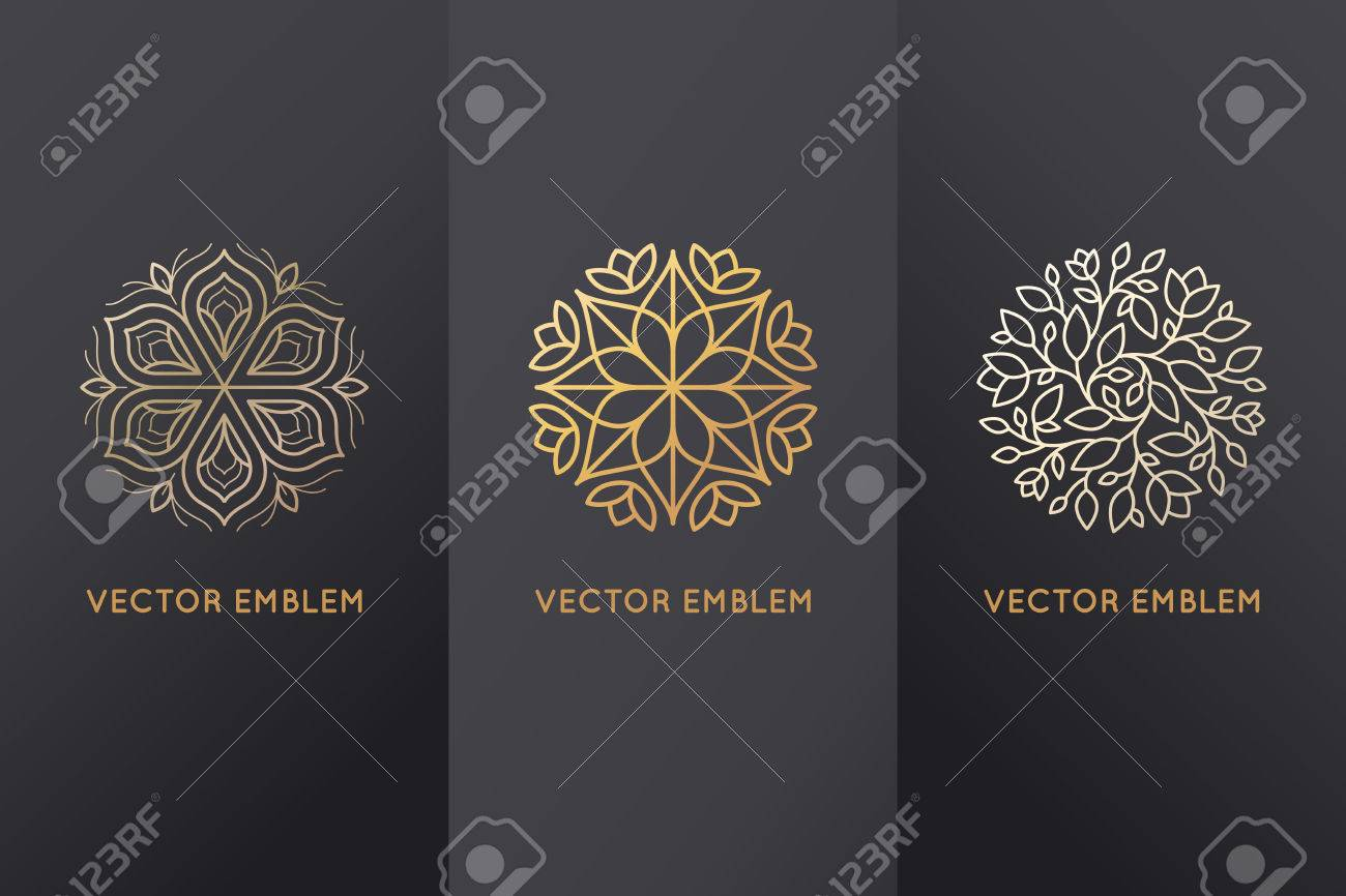 Vector set of design elements, labels and frames for packaging for luxury products in trendy linear style - simple and bright background made with golden foil on black background with copy space for text or logo - 72463134