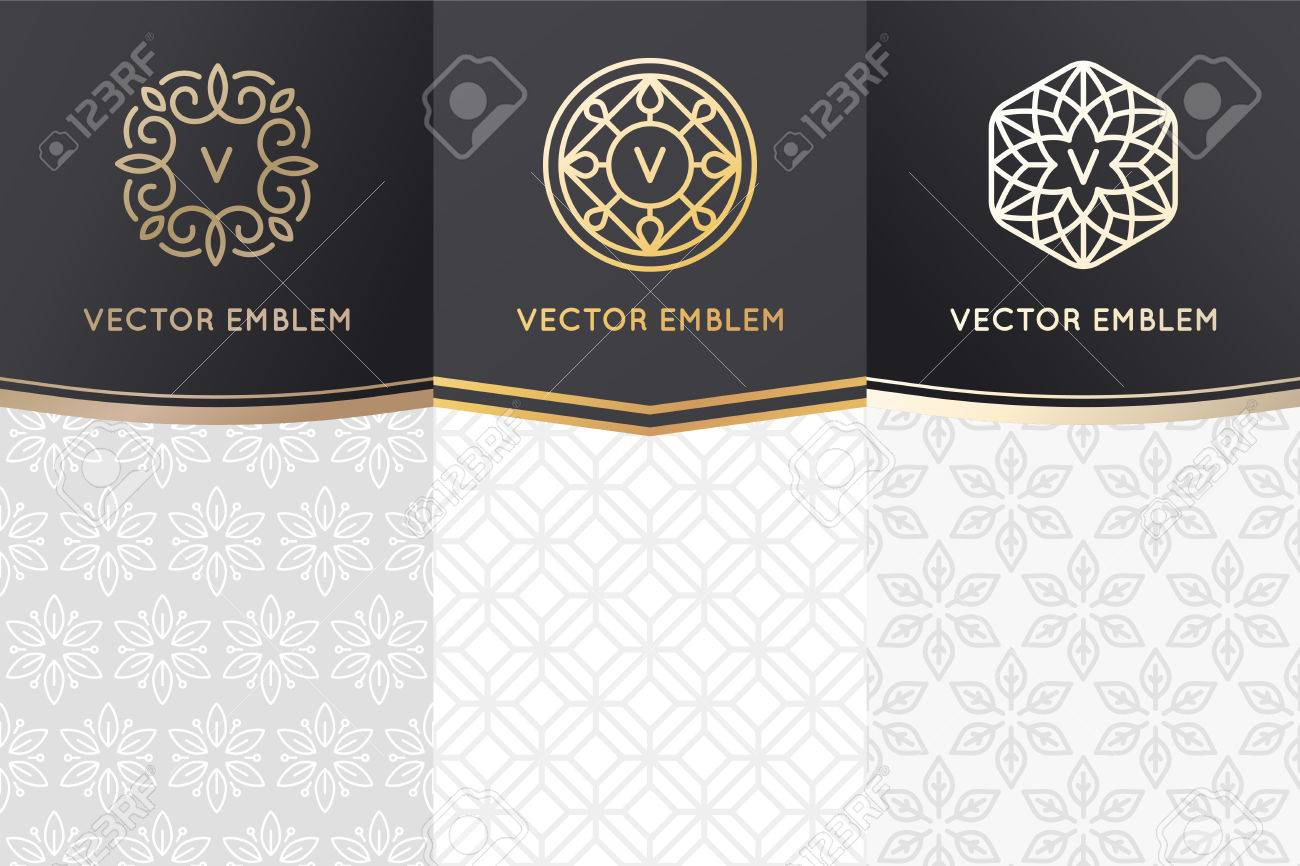 Vector set of design elements, labels and frames for packaging for luxury products in trendy linear style - simple and bright background made with golden foil on black background with copy space for text - 72755659