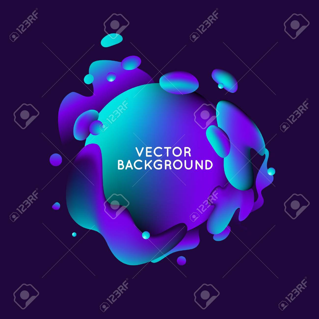 Vector design template and illustration in trendy bright gradient colors with abstract fluid shapes, paint splashes, ink drops and copy space for text - banner, cover and background - 73225898