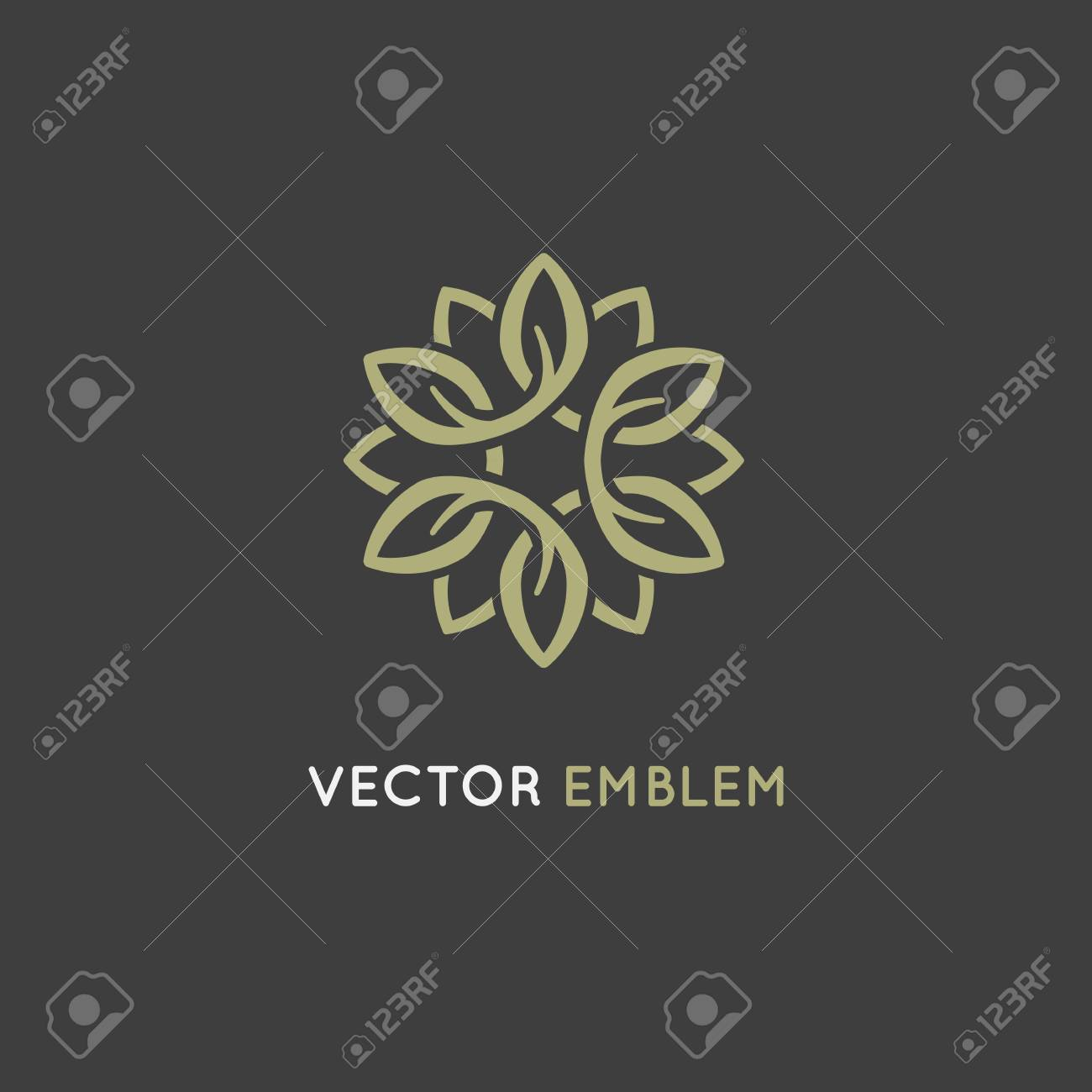 Vector logo design template and emblem made with infinite lines - luxury beauty spa concept - badge for yoga studios, holistic medicine centers, natural and organic food products and packaging - 76520448