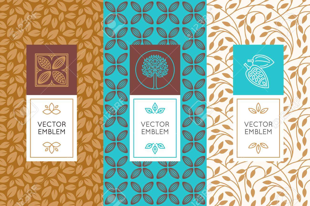 Vector set of design elements and seamless patterns for chocolate and cocoa packaging - labels and backgrounds - 78092372