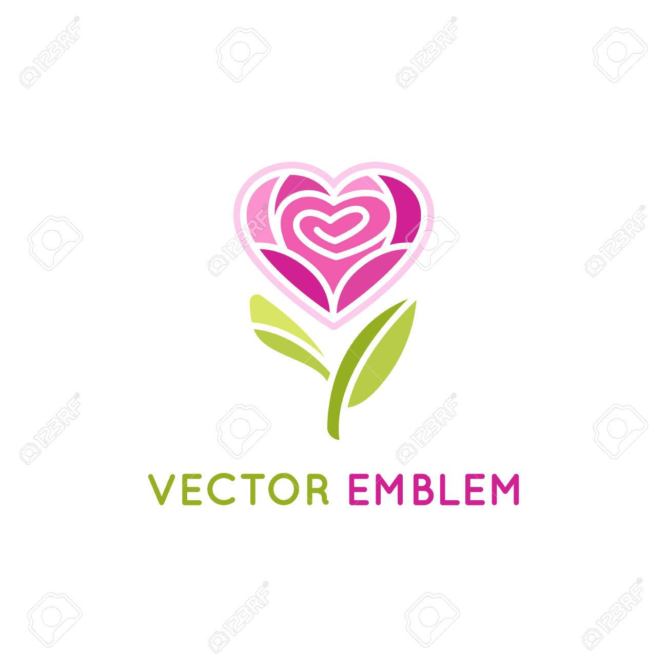 vector logo design template and emblem rose flower in heart