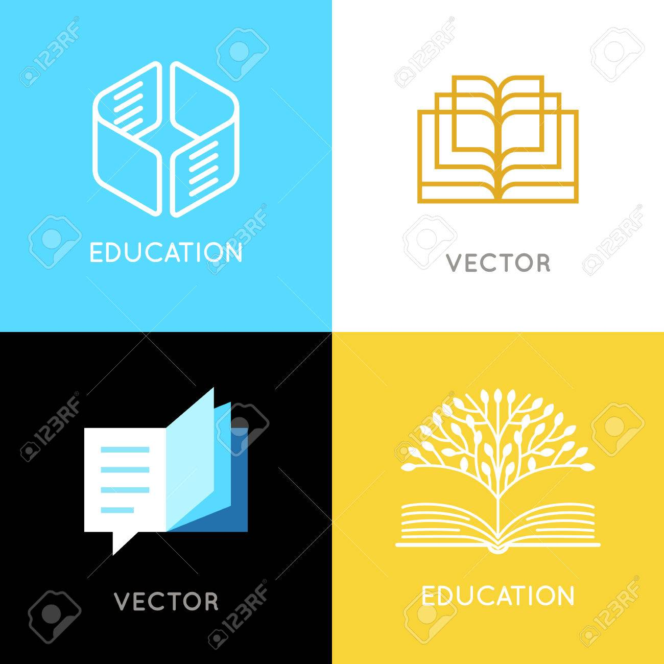 Vector set of abstract logo design templates- online education and learning concepts - book emblems and brain icons - emblems for courses, classes, schools and online publishers - 82338054