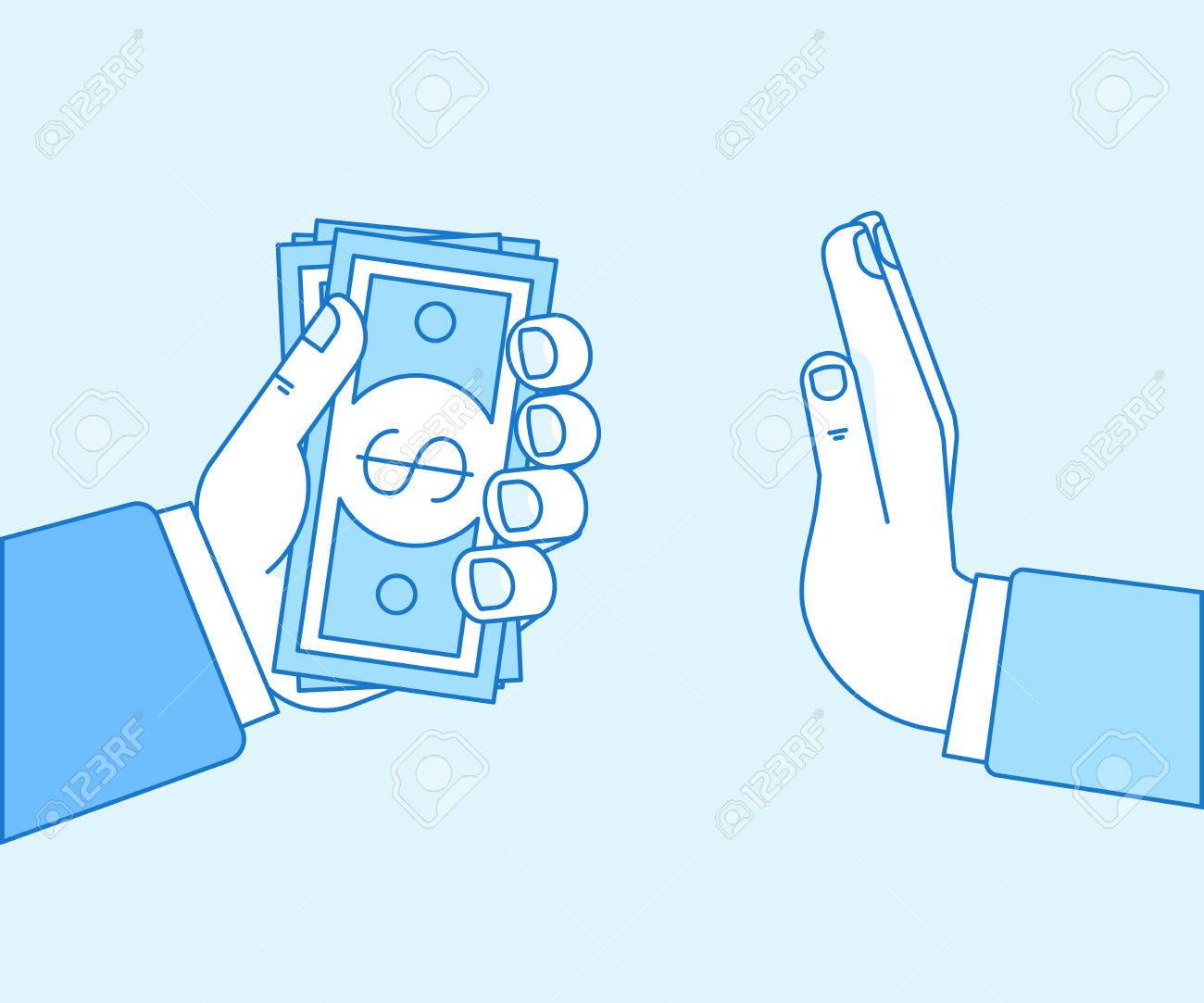 Vector illustration in flat linear style and blue color - stop corruption concept - hand giving bribe in cash - 82672200
